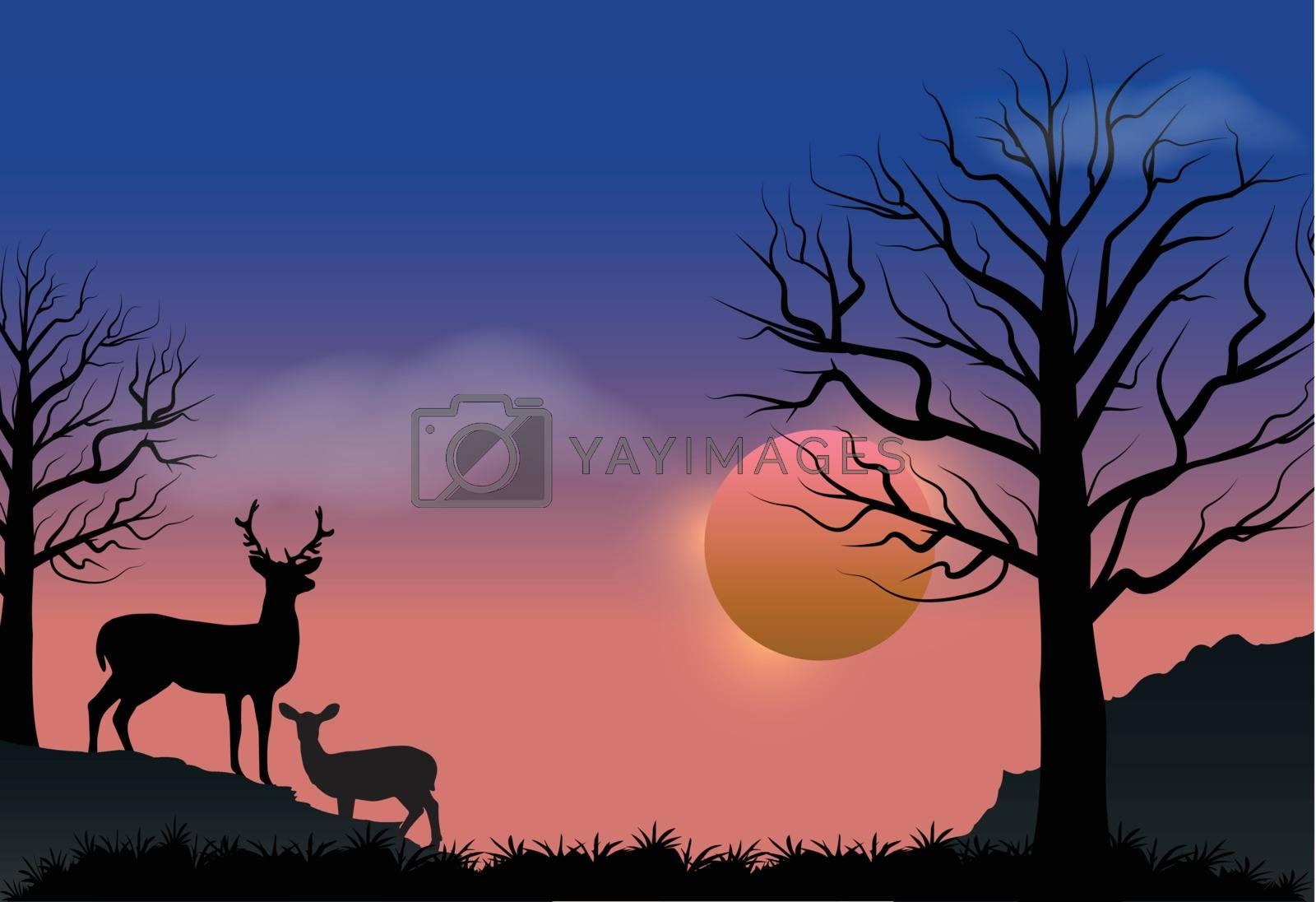 Deer and sunset, autumn season nature landscape vector background
