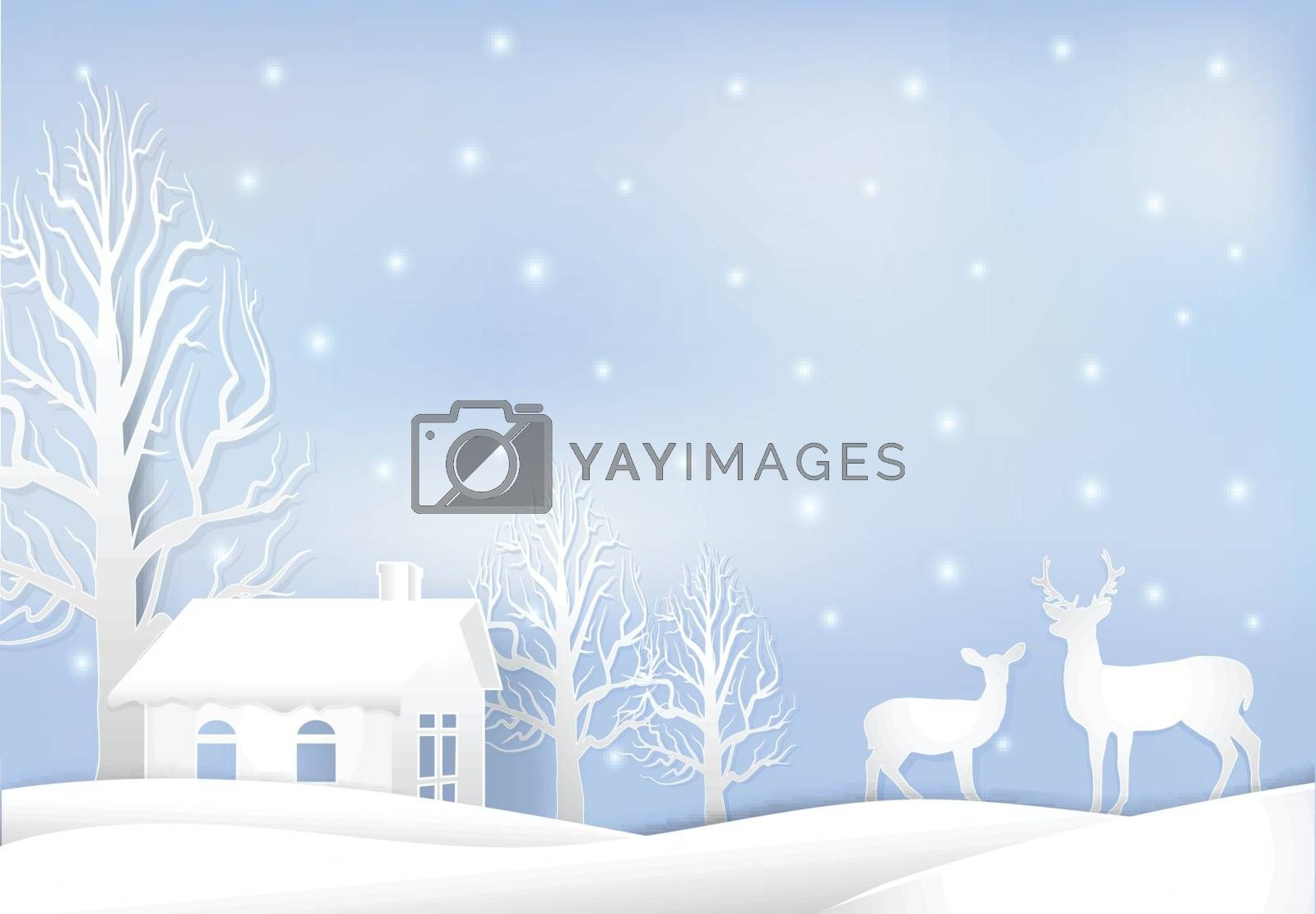 Paper art illustration of House and deer, Christmas season background  paper cut style