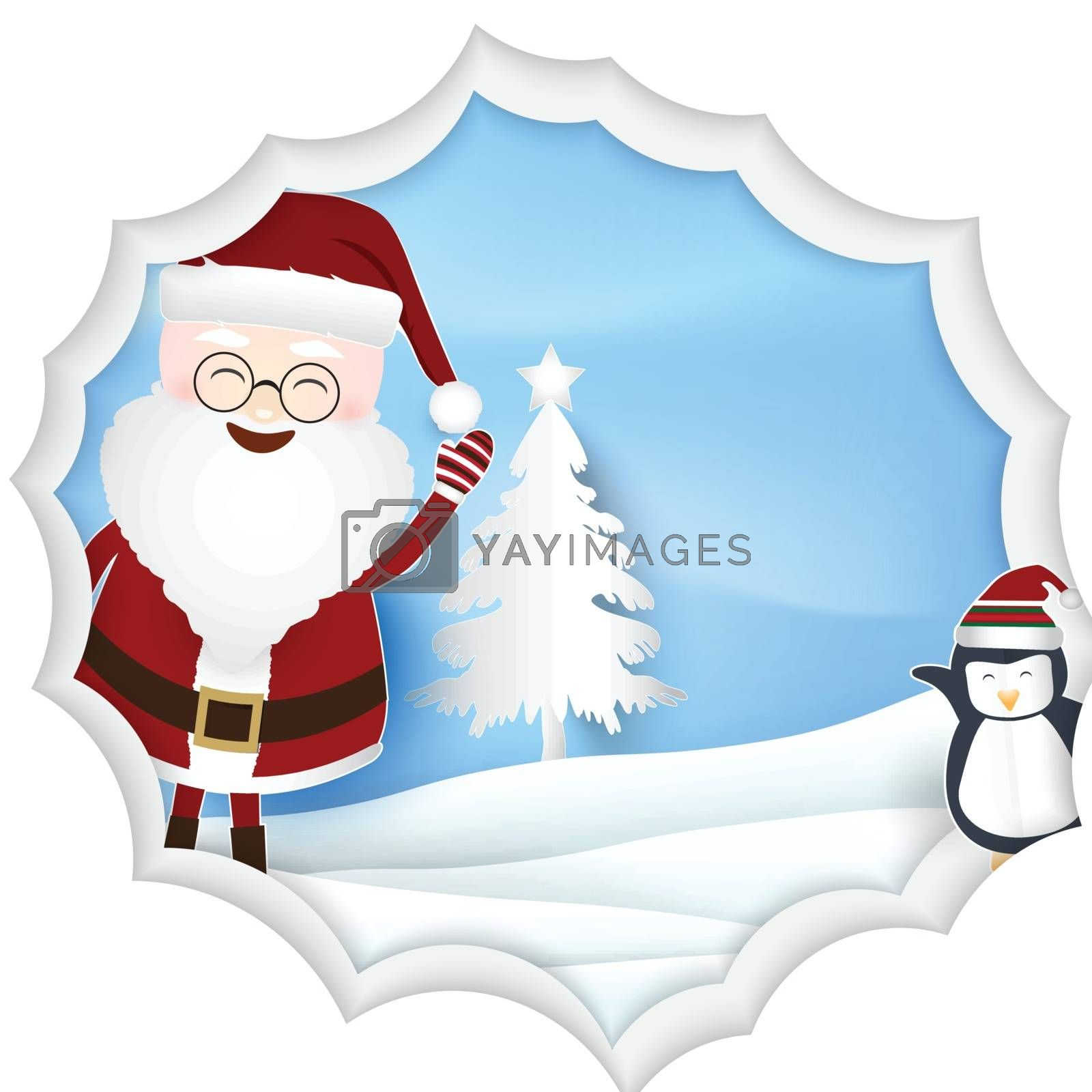 Christmas season with Santa and penguin Paper art illustration, Paper cut style