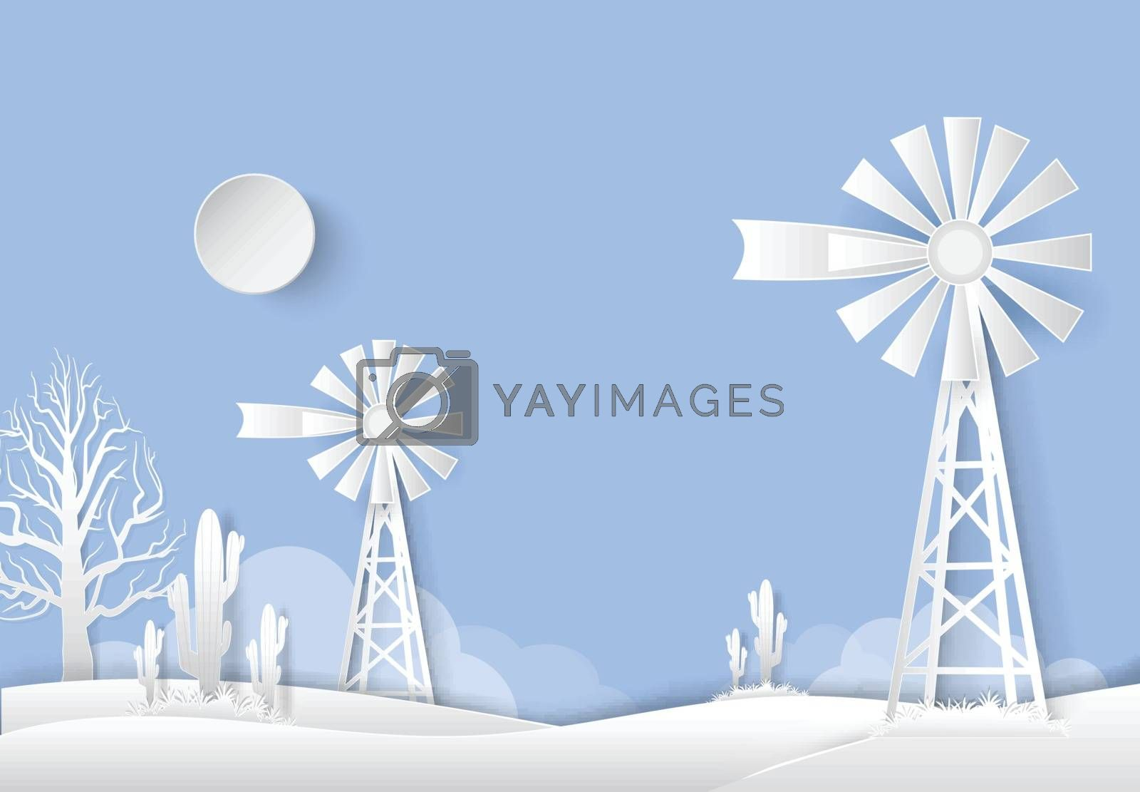 Windmill and Saguaro Cactus in dried field countryside. Paper art style, paper cut illustration