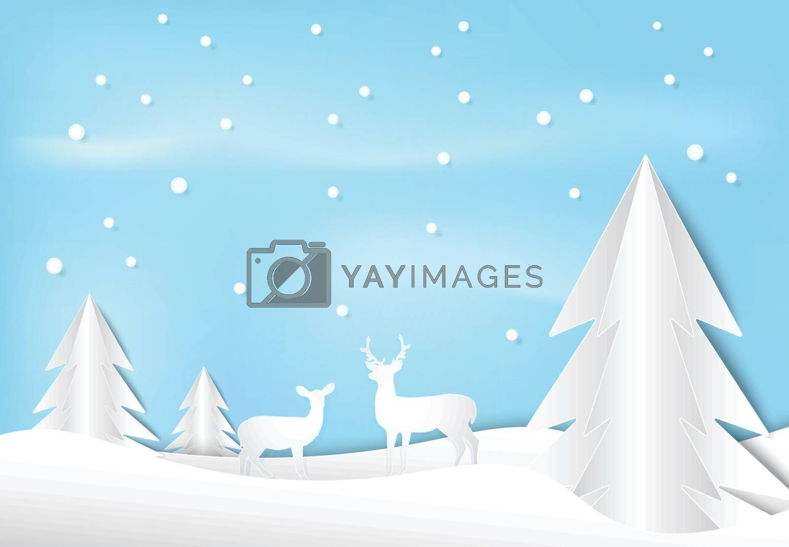 Deer and pine tree with snow paper art style, Christmas season background paper cut illustration