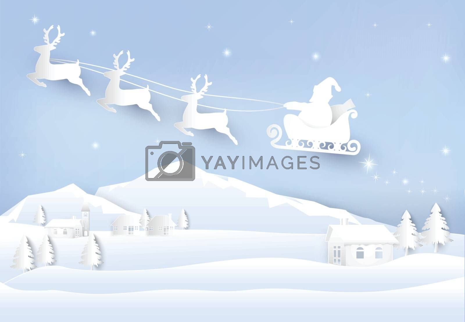 Christmas season Santa and deer paper art background. Winter hol by Kheat