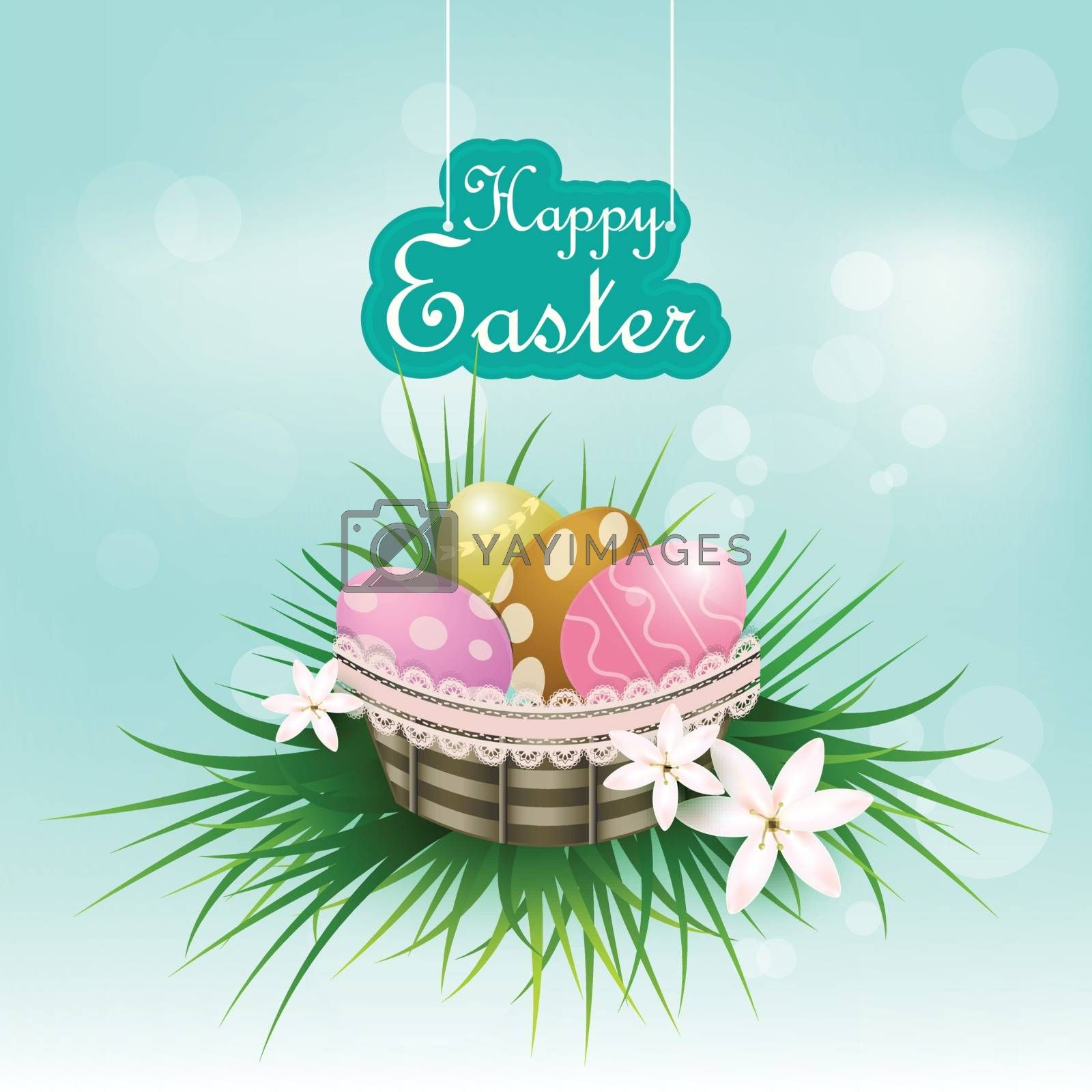 Eggs in the basket Easter day background