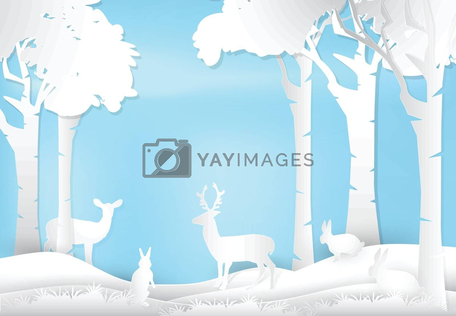 Deer and rabbit standing in forest. Nature landscape background  by Kheat