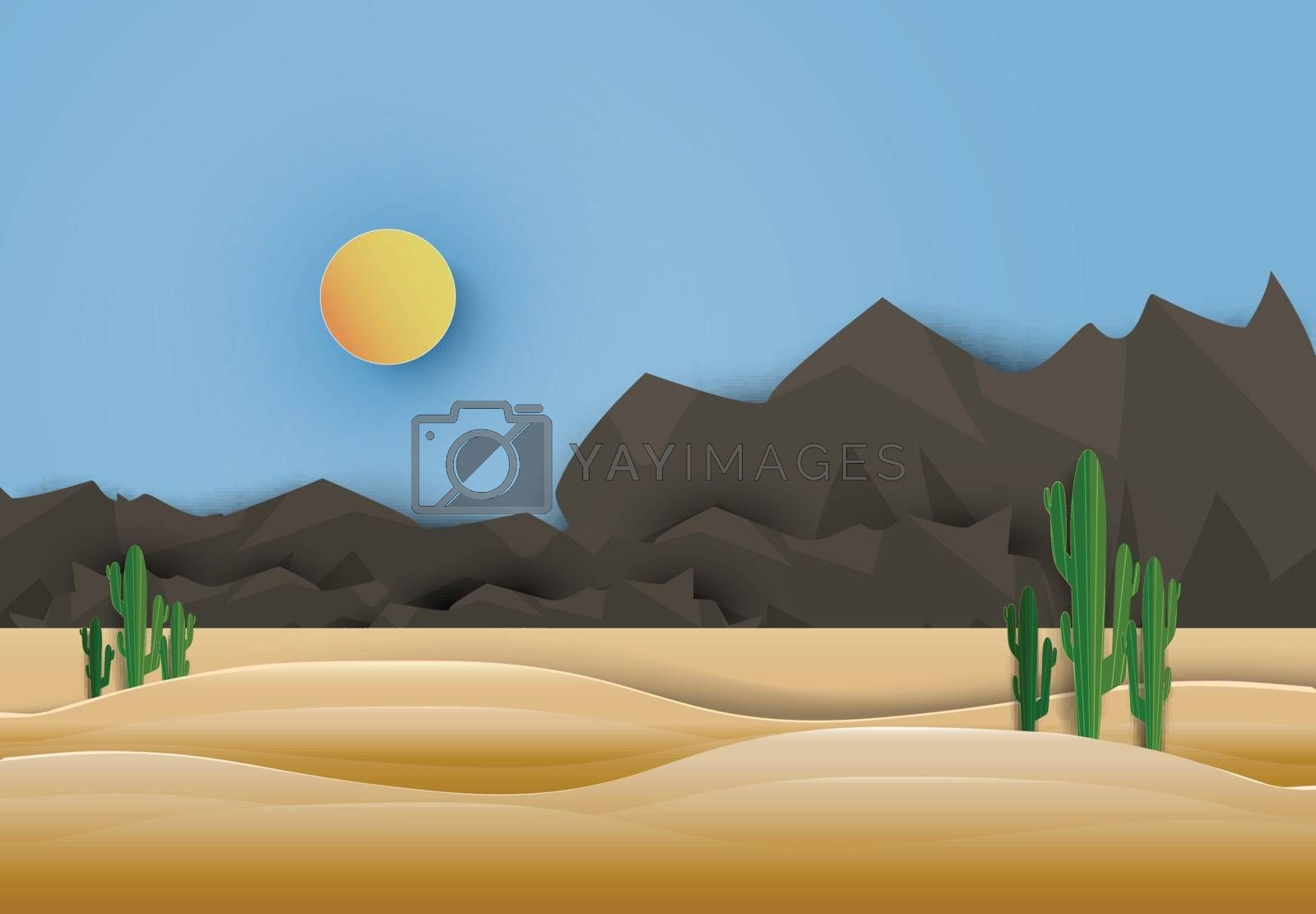 Saguaro Cactus in Western countryside. Paper art style, paper cut illustration