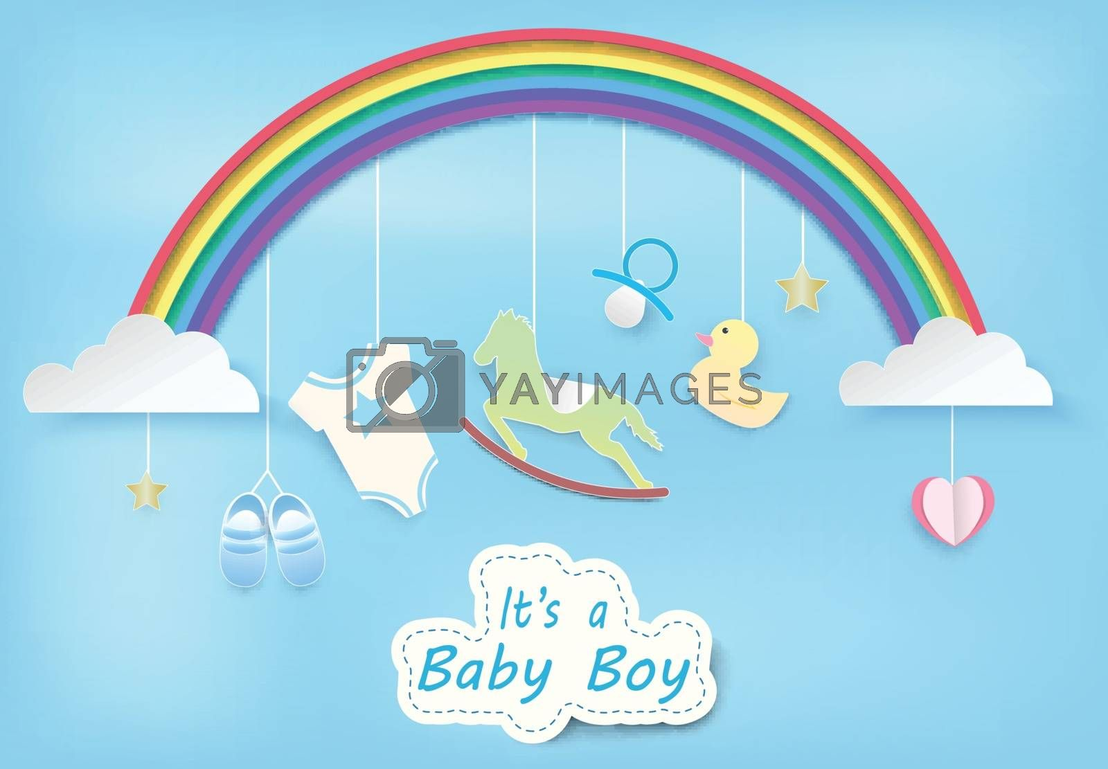 Paper art of rainbow with baby boy shower on blue sky paper cut style illustration