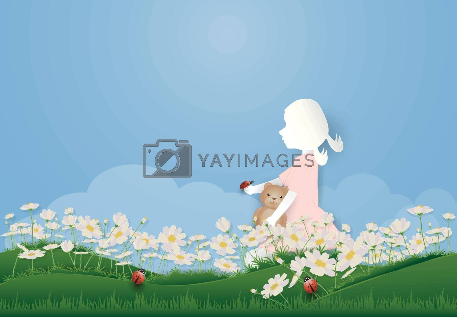 Girl sitting in Cosmos flowers field and ladbybug spring season paper art, paper cut style background