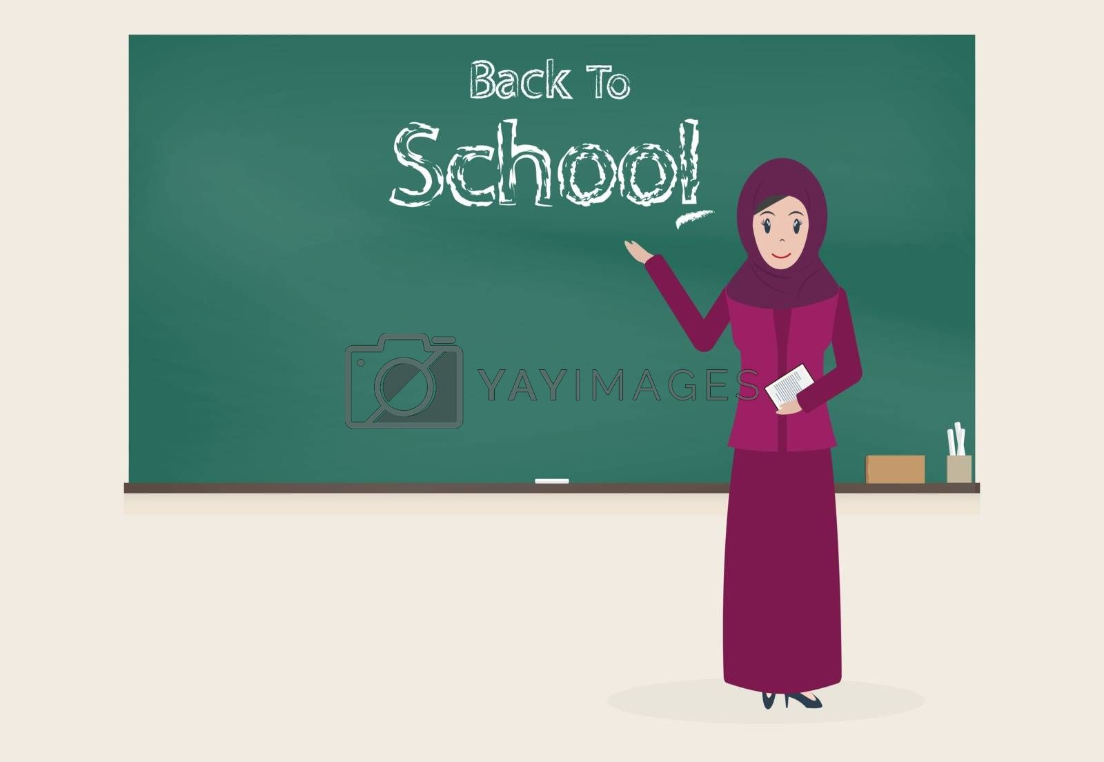 Muslim female teacher and Back to school text chalkboard backgro by Kheat