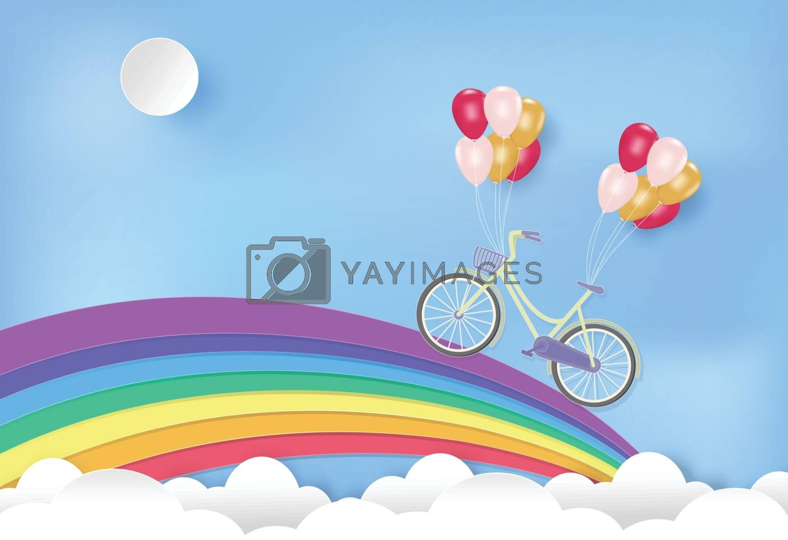Paper art of rainbow with bicycle and balloons on blue sky paper cut style illustration