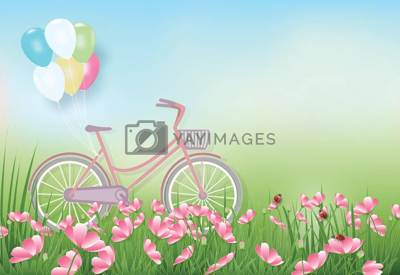 Cosmos flowers field and bicycle with balloons paper art, paper cut style background