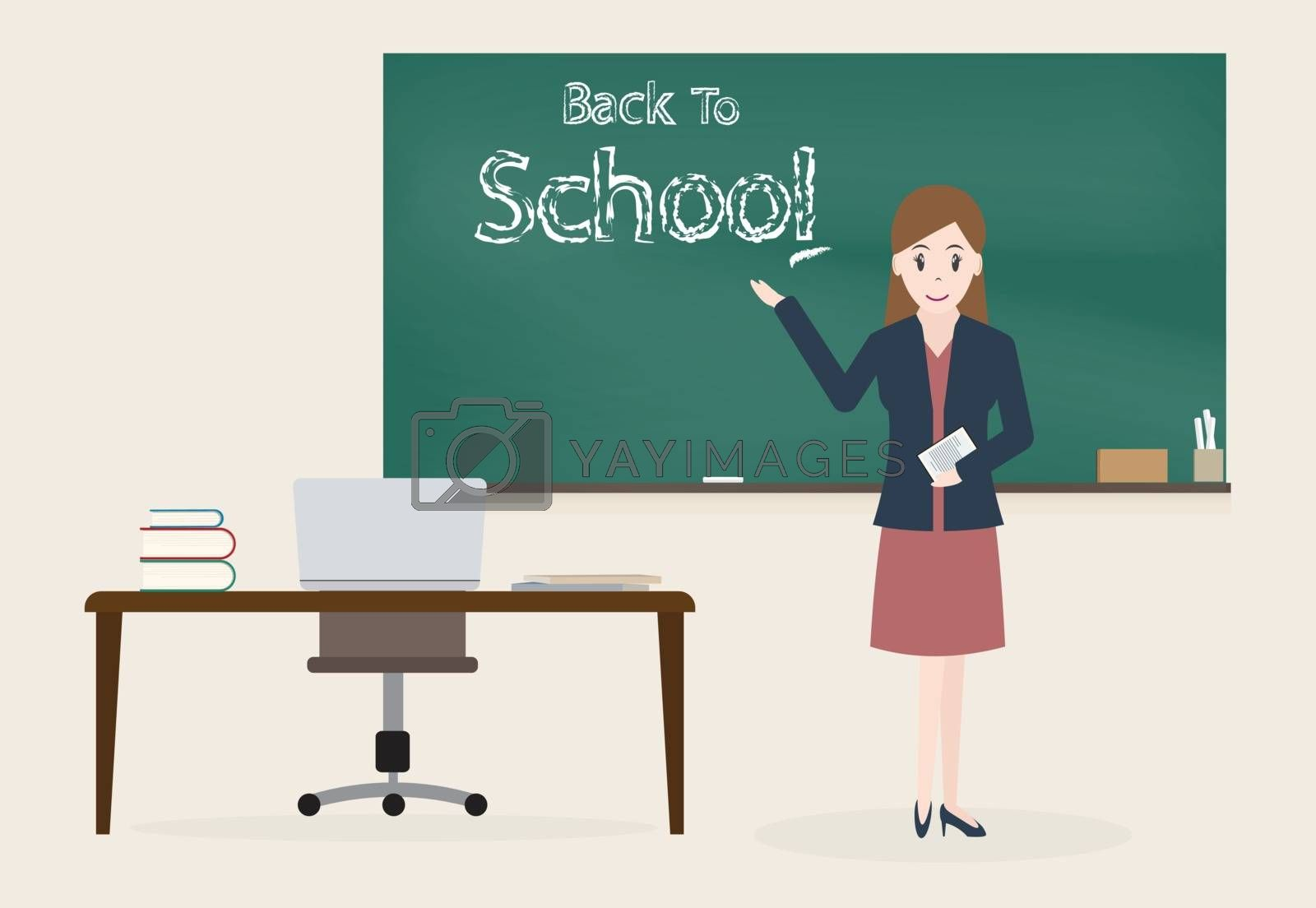 Female teacher and Back to school text on chalkboard background by Kheat