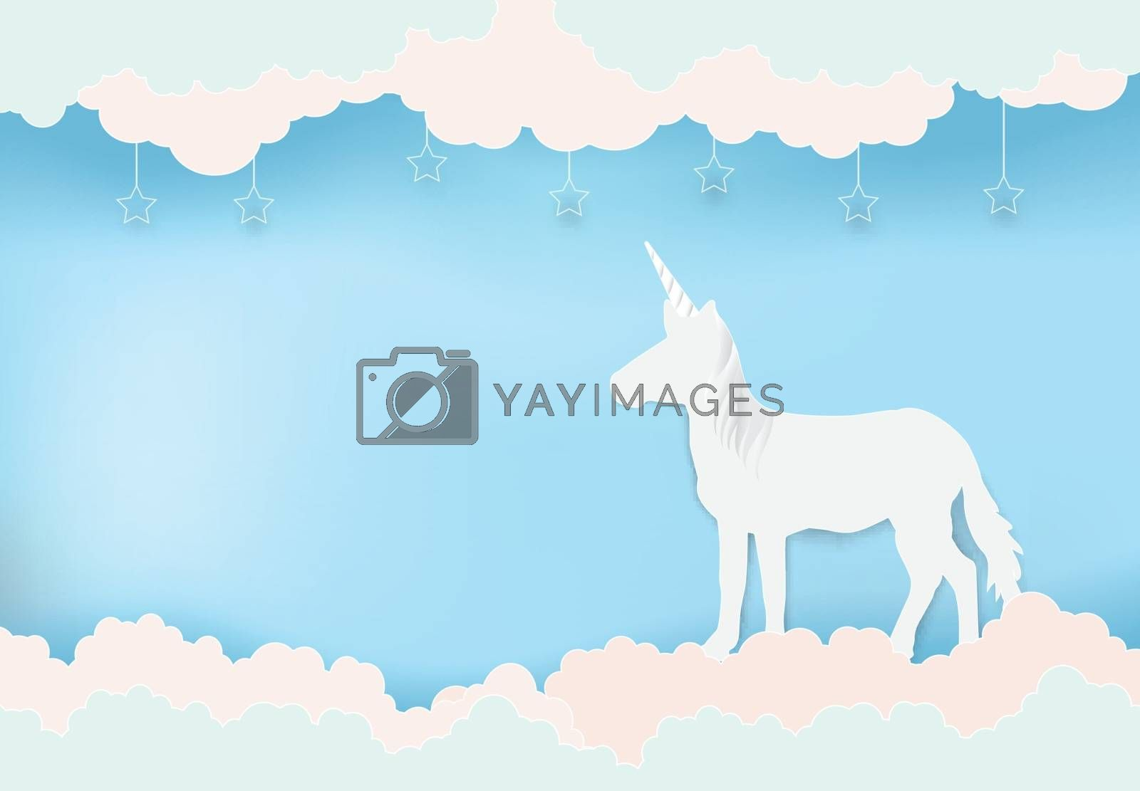 Unicorn standing on blue sky and cloud with star paper art, paper cut illustration style background