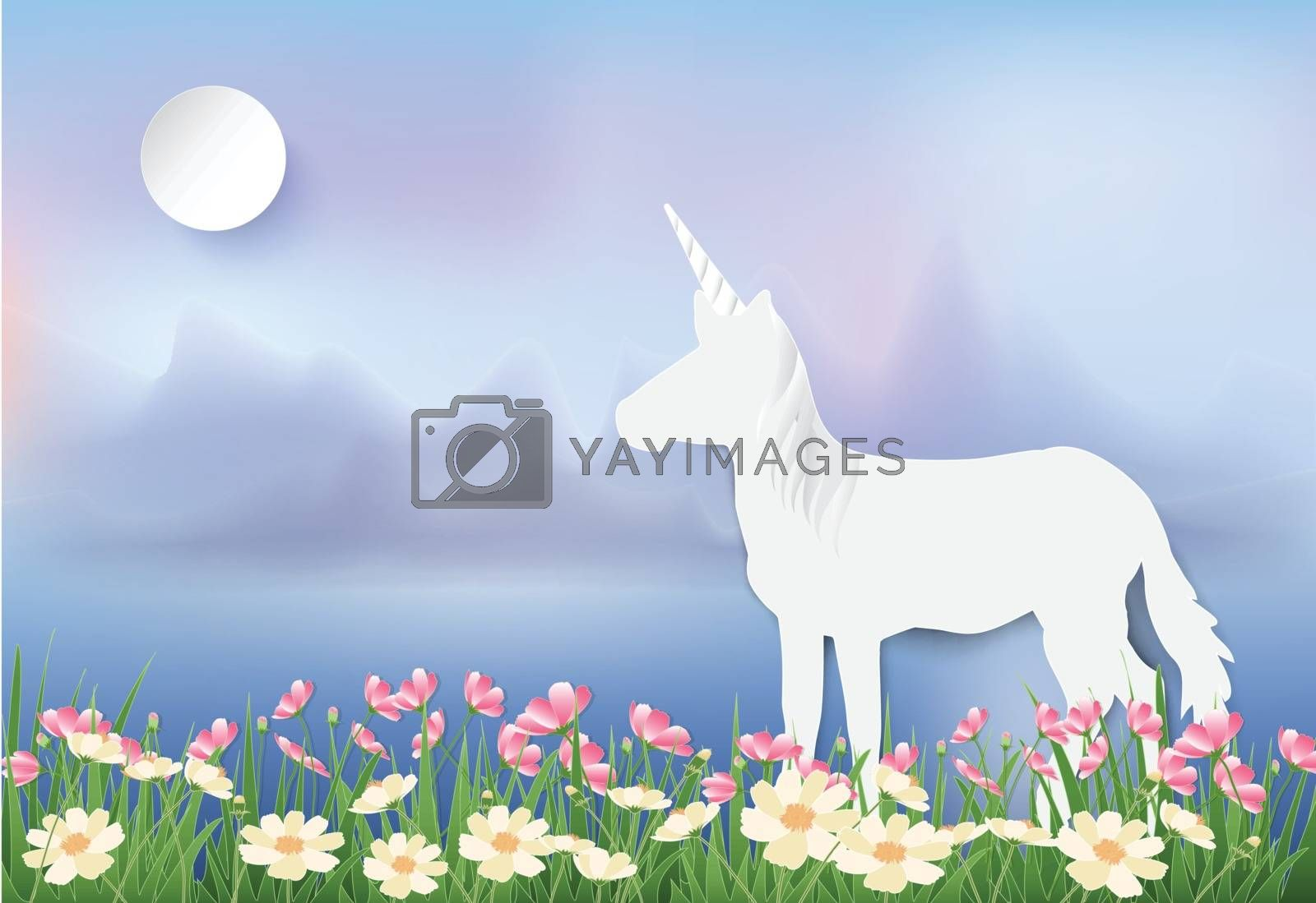 Unicorn standing in Cosmos flowers field paper art, paper cut st by Kheat