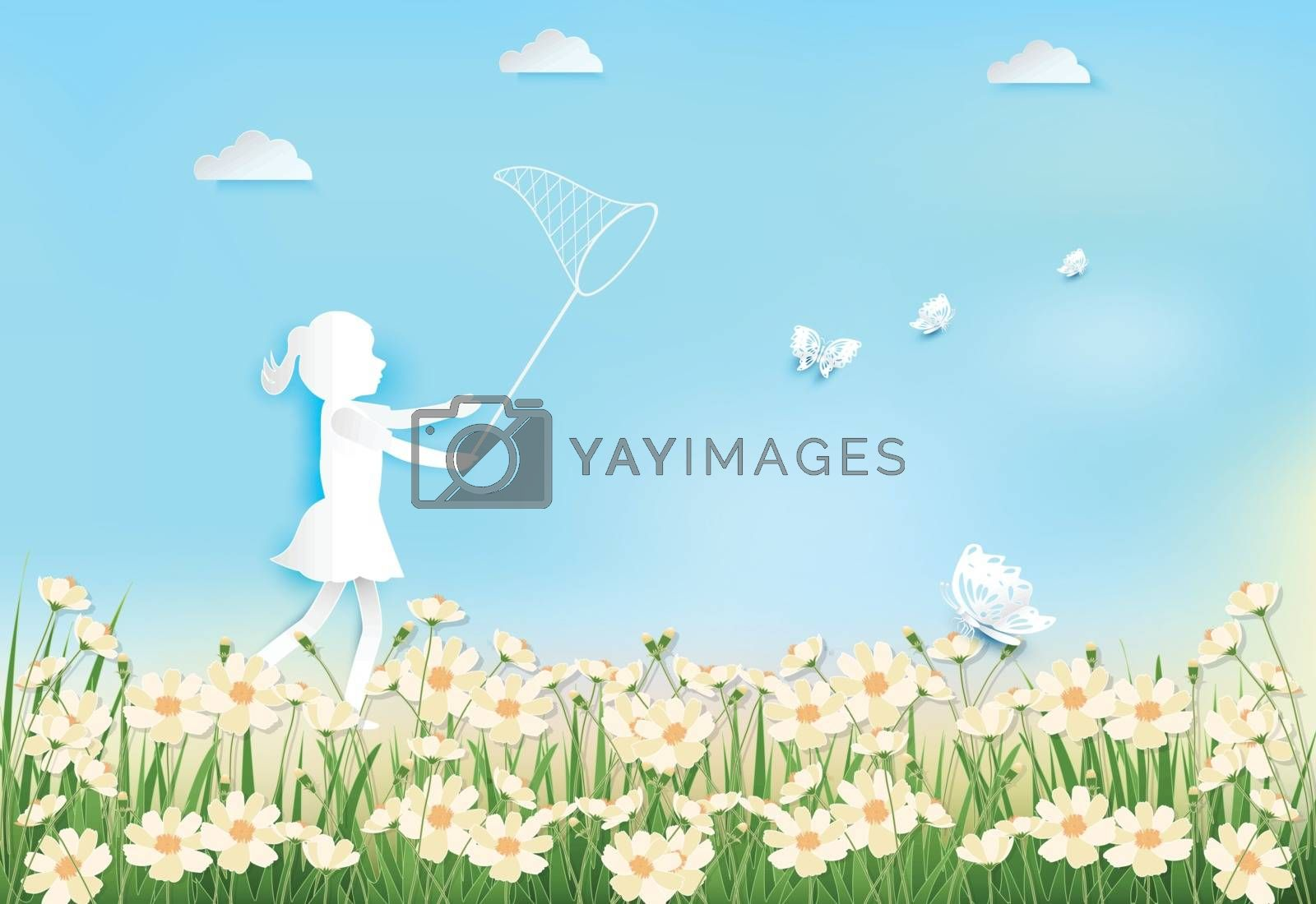 Girl happiness with catching butterflies in cosmos flowers field on blue sky background paper art, paper craft style illustration