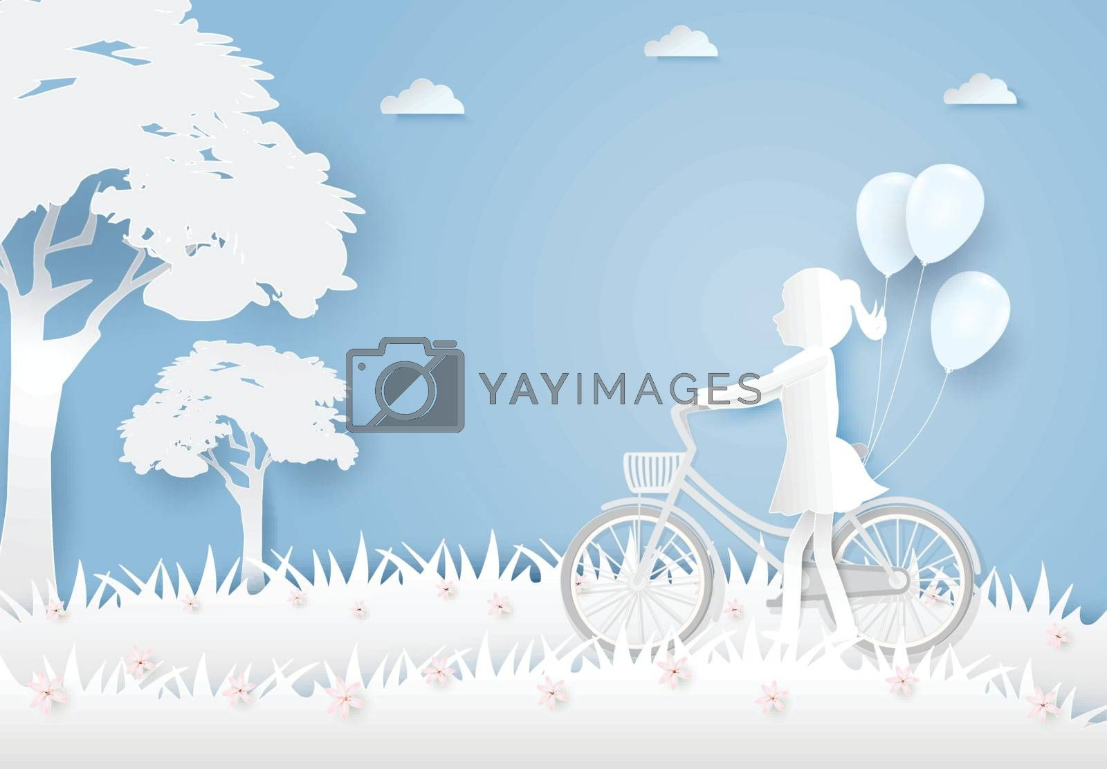 Little Girl with bicycle and balloons in cosmos flowers field on blue sky paper art, paper cut style background