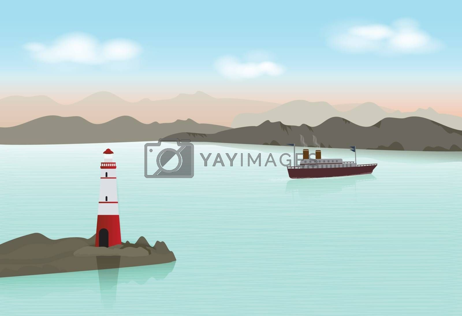 Lighthouse with Ocean liner in the ocean Paper craft illustration background.