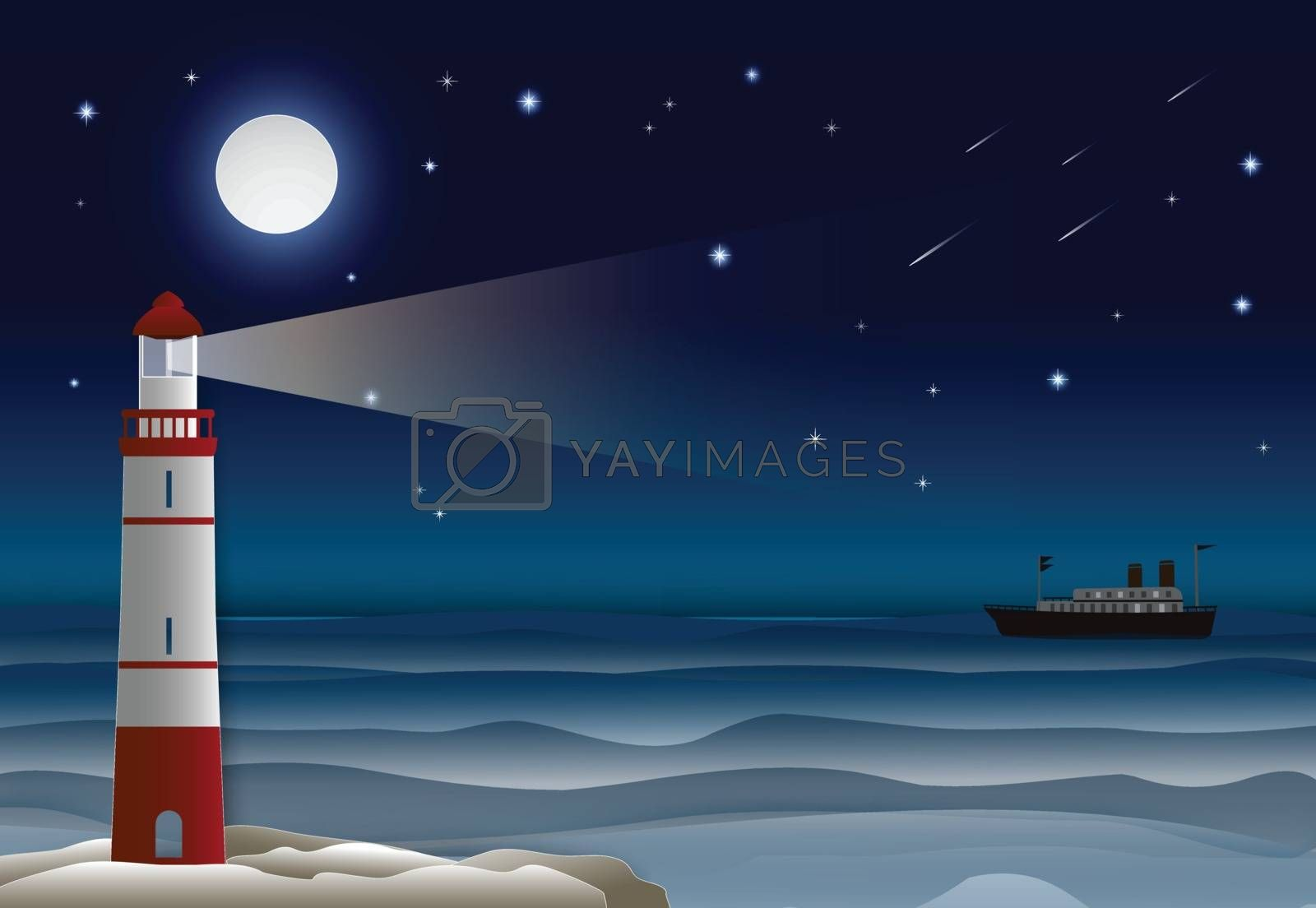 Lighthouse with Ocean liner in the ocean and night sky. Paper craft illustration background.