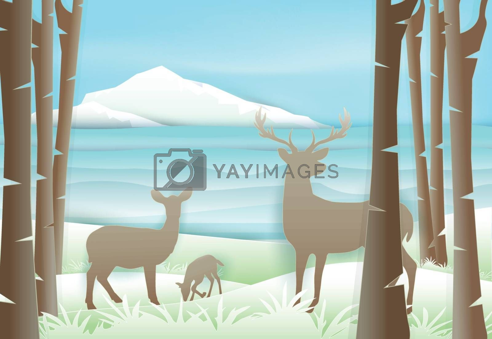 Deer's family standing in forest near the lake and blue sky. Paper art, paper craft illustration Nature landscape background