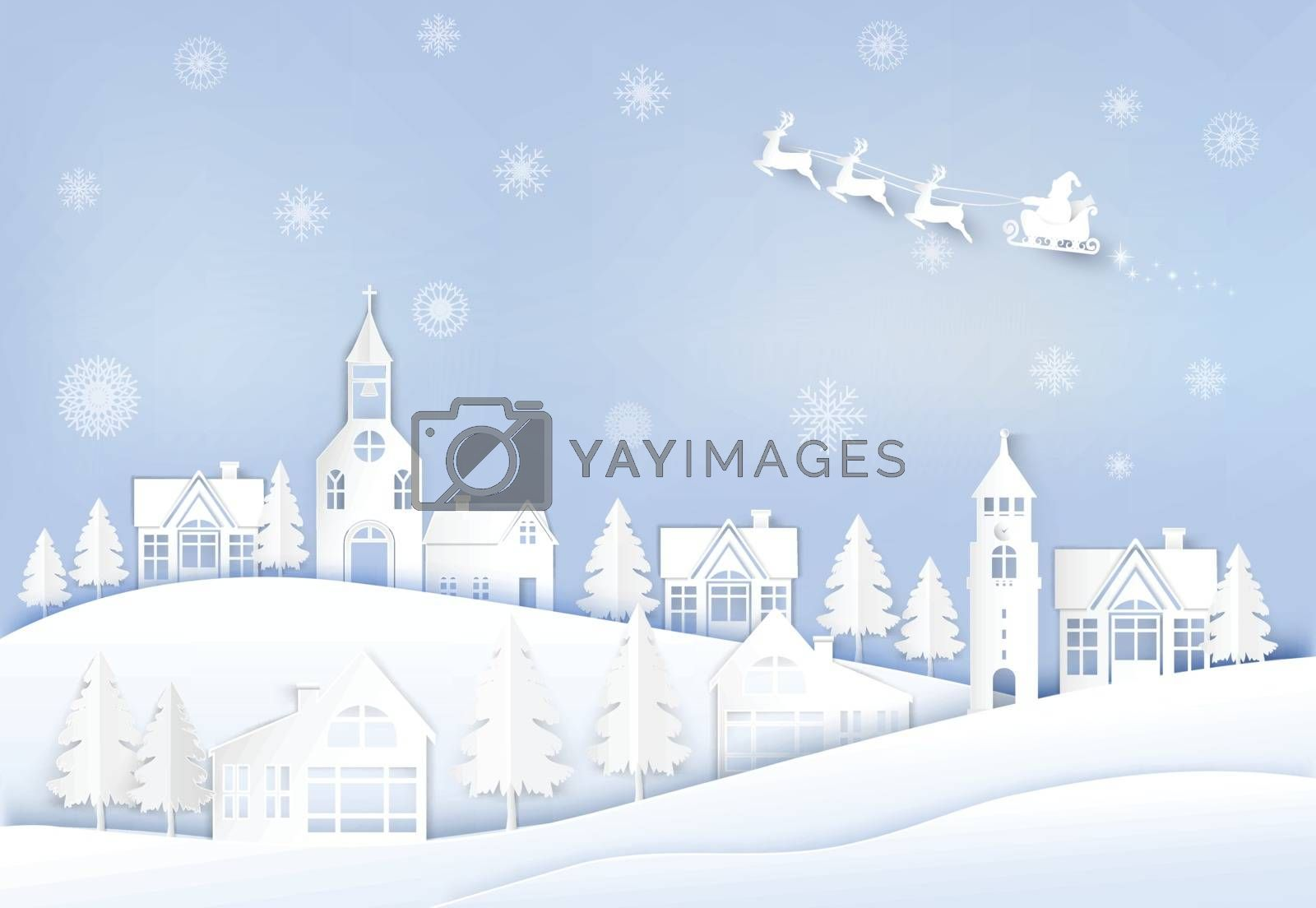 Winter holiday Santa and deer with snowflake background. Christmas season paper art style illustration.