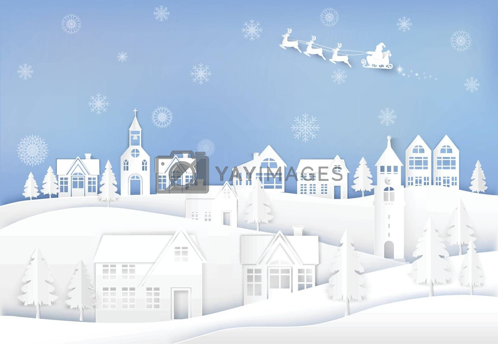 Winter holiday Santa and deer in city town with snowflake background. Christmas season paper art style illustration.