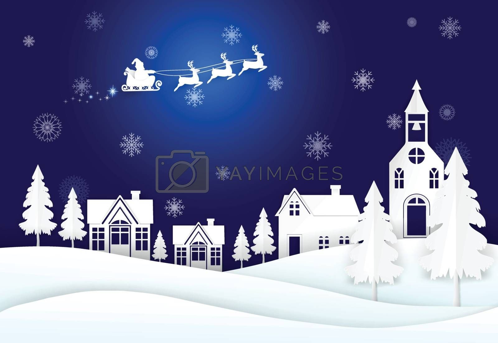 Santa on night sky and snowflake Winter background. Christmas season paper art, paper craft, paper cut style illustration