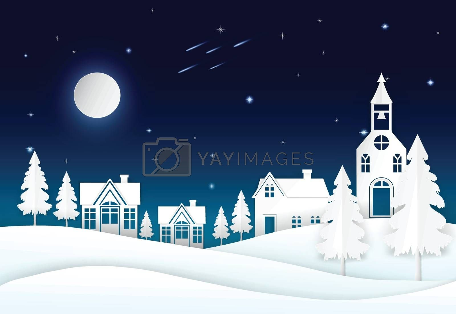 Full moon on night sky with star, comet and village. Paper art, paper craft, paper cut style illustration background