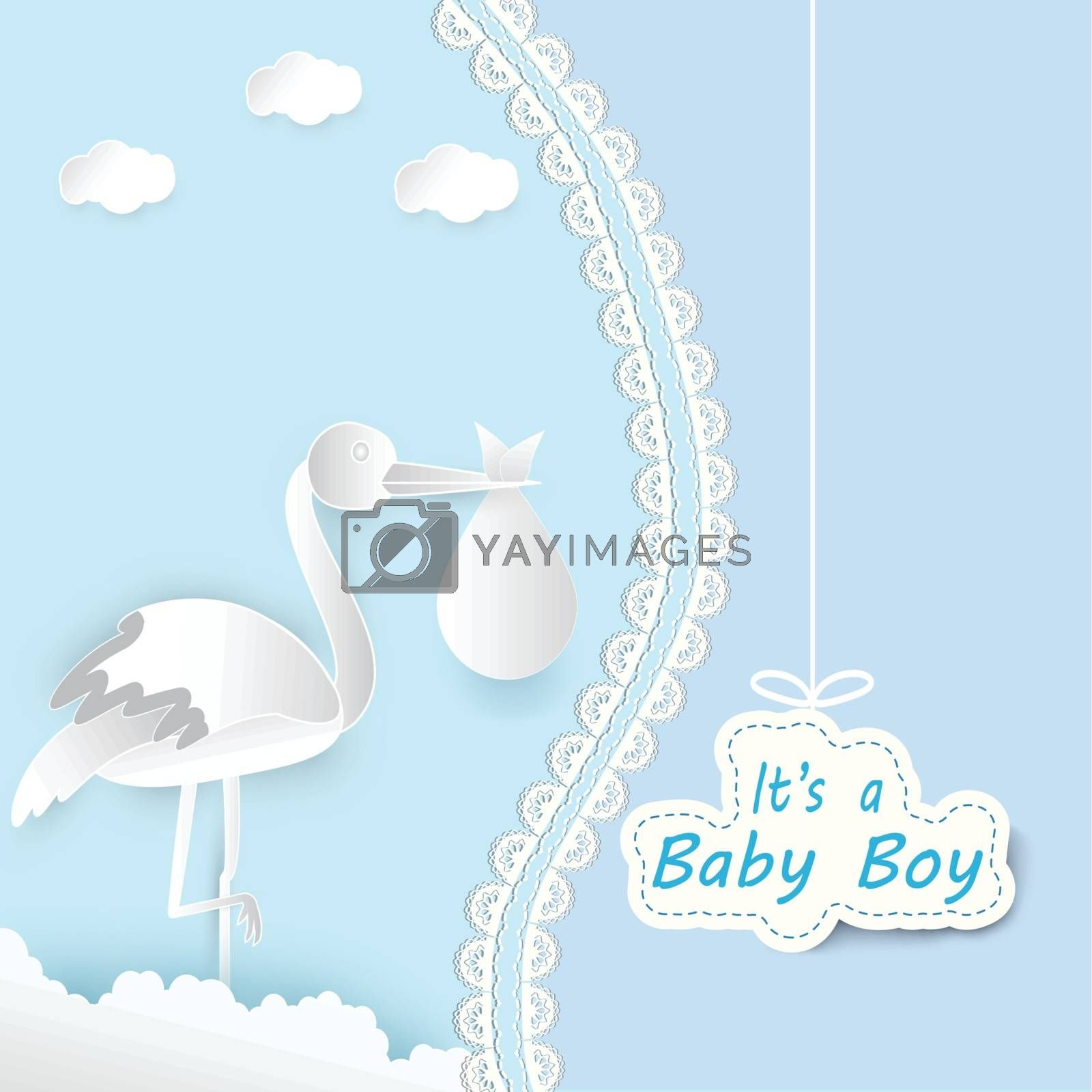 Paper art of stork with baby and cloud baby boy shower card paper cut style illustration blue background