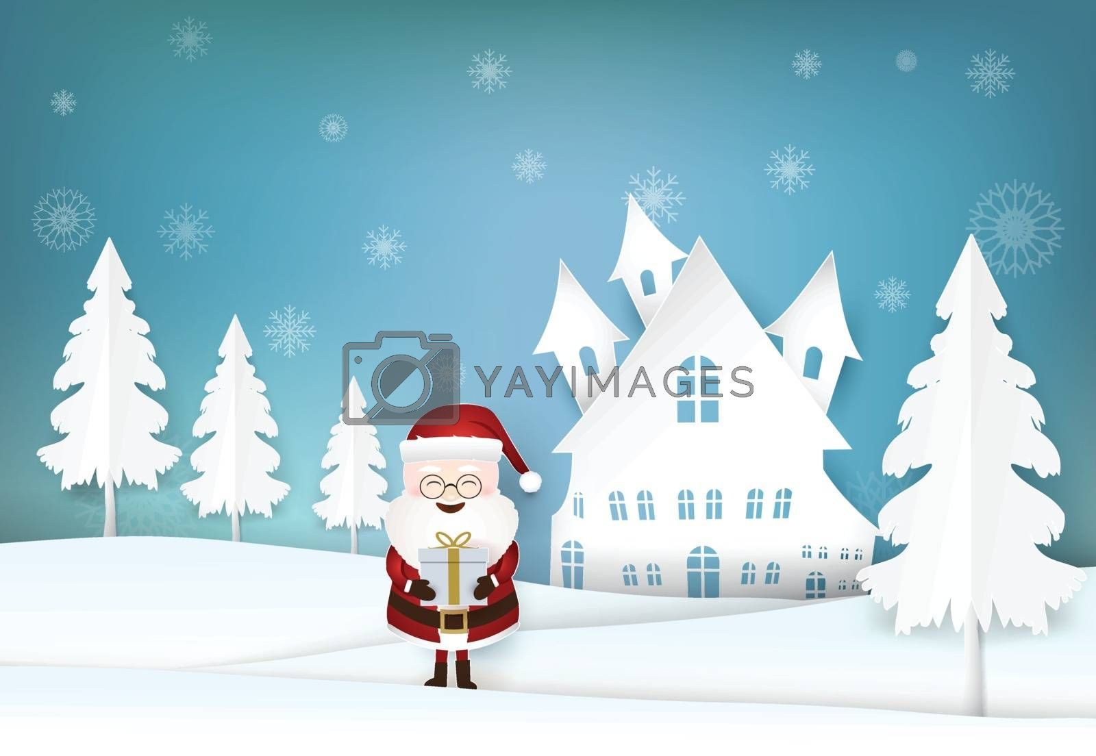 Christmas season Santa holding gift box and snowflake Winter holiday background paper art, paper craft style illustration.