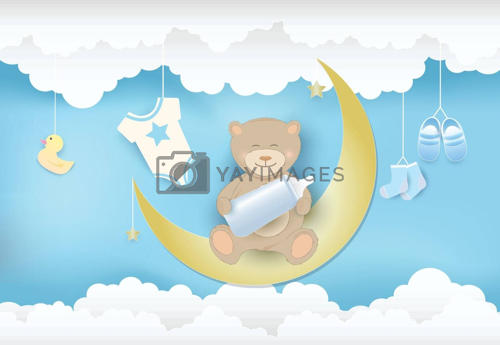 Paper art of cloud with toy shower and teddy bear sitting on the moon, sky background paper cut style, baby boy card illustration