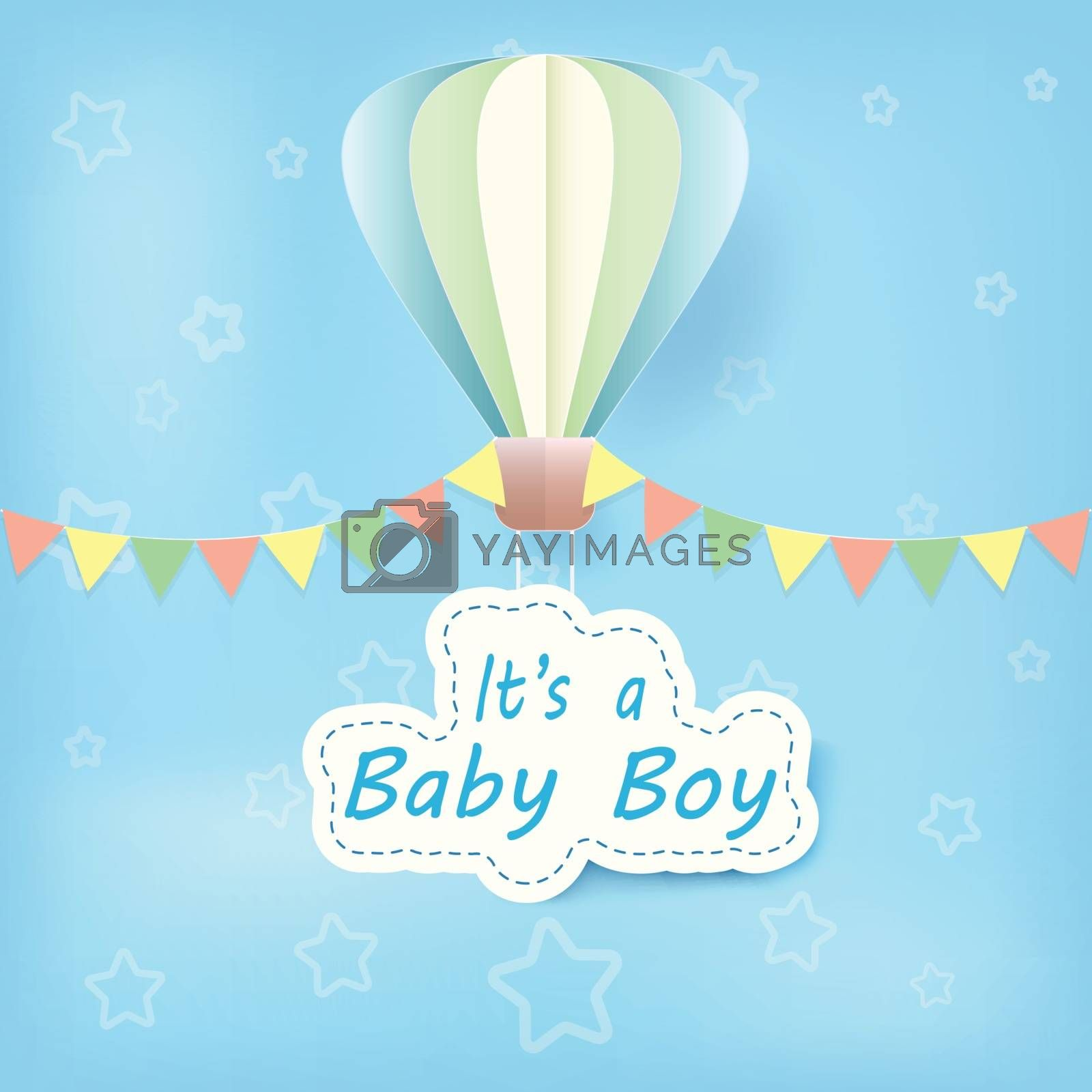 Paper art of hot air balloon with baby boy text shower card paper cut style illustration blue background