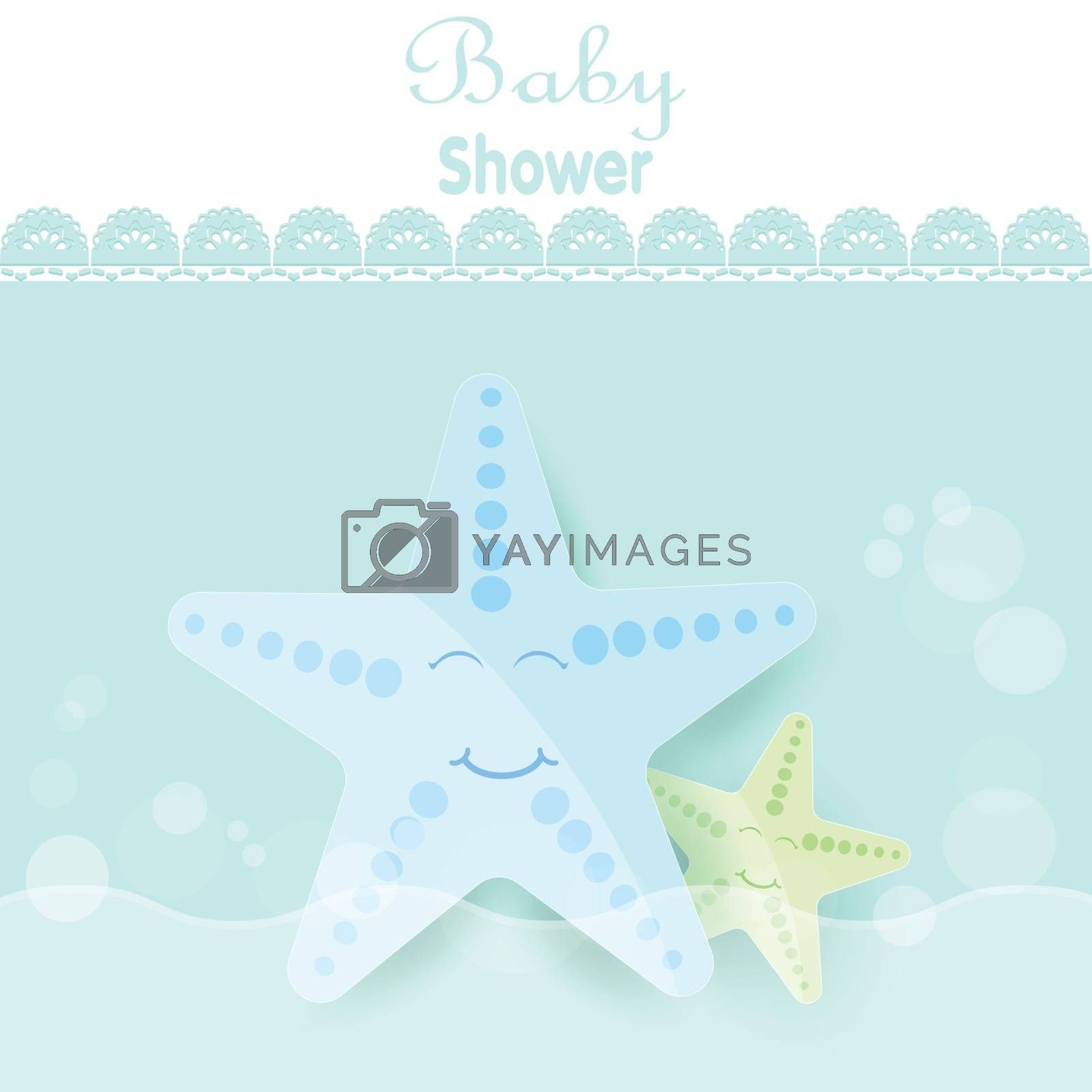 Baby shower card cute cartoon Starfish for greeting card, birthday card. Paper art marine style illustration