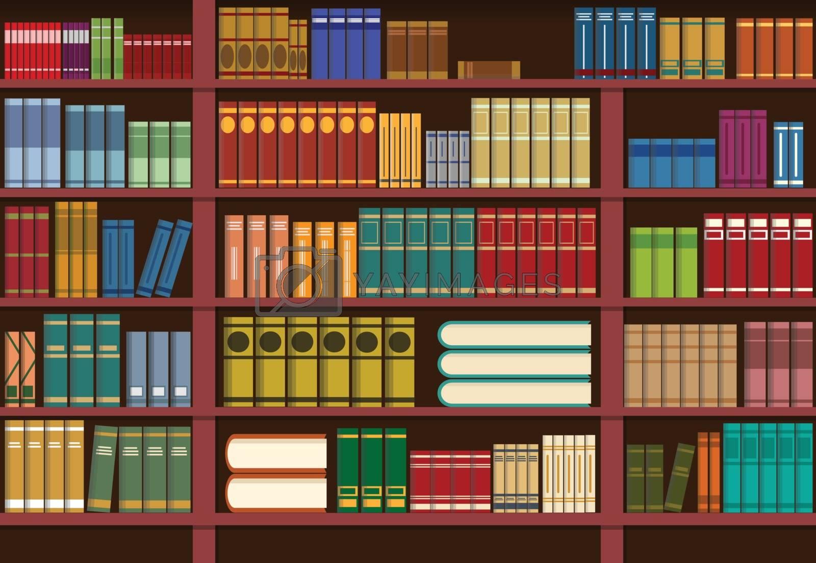Bookshelf in library, knowledge illustration