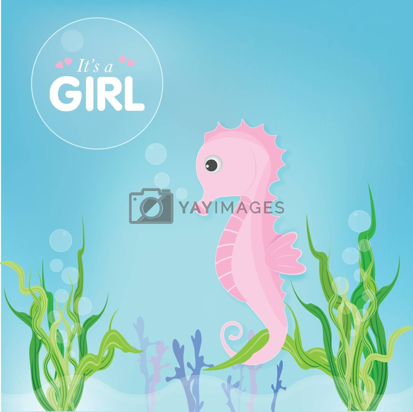 Pink Seahorse and seaweed cute cartoon shower card, greeting card. Paper art marine style illustration