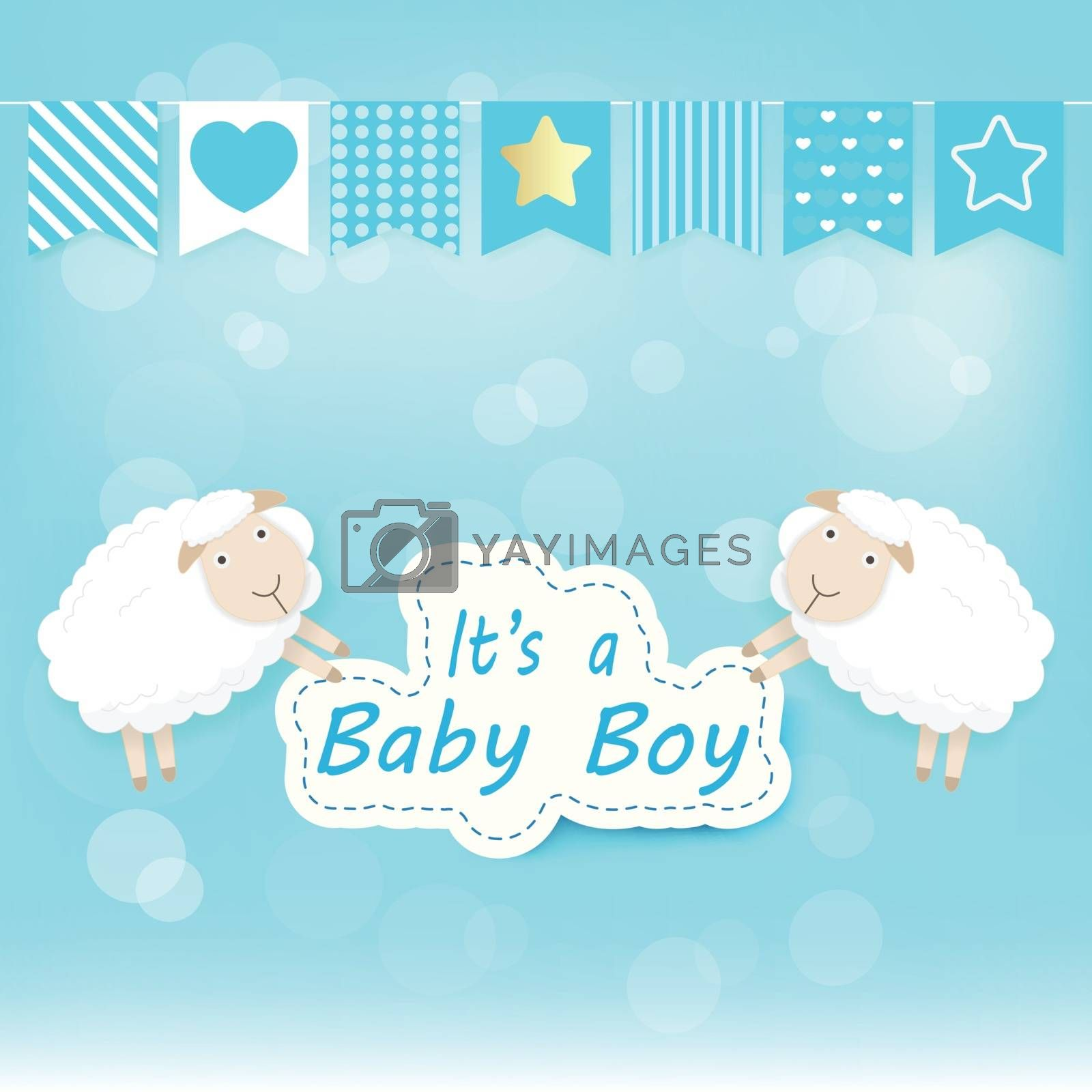 Baby boy shower card with Sheep on blue. Happy Birthday card paper art style illustration