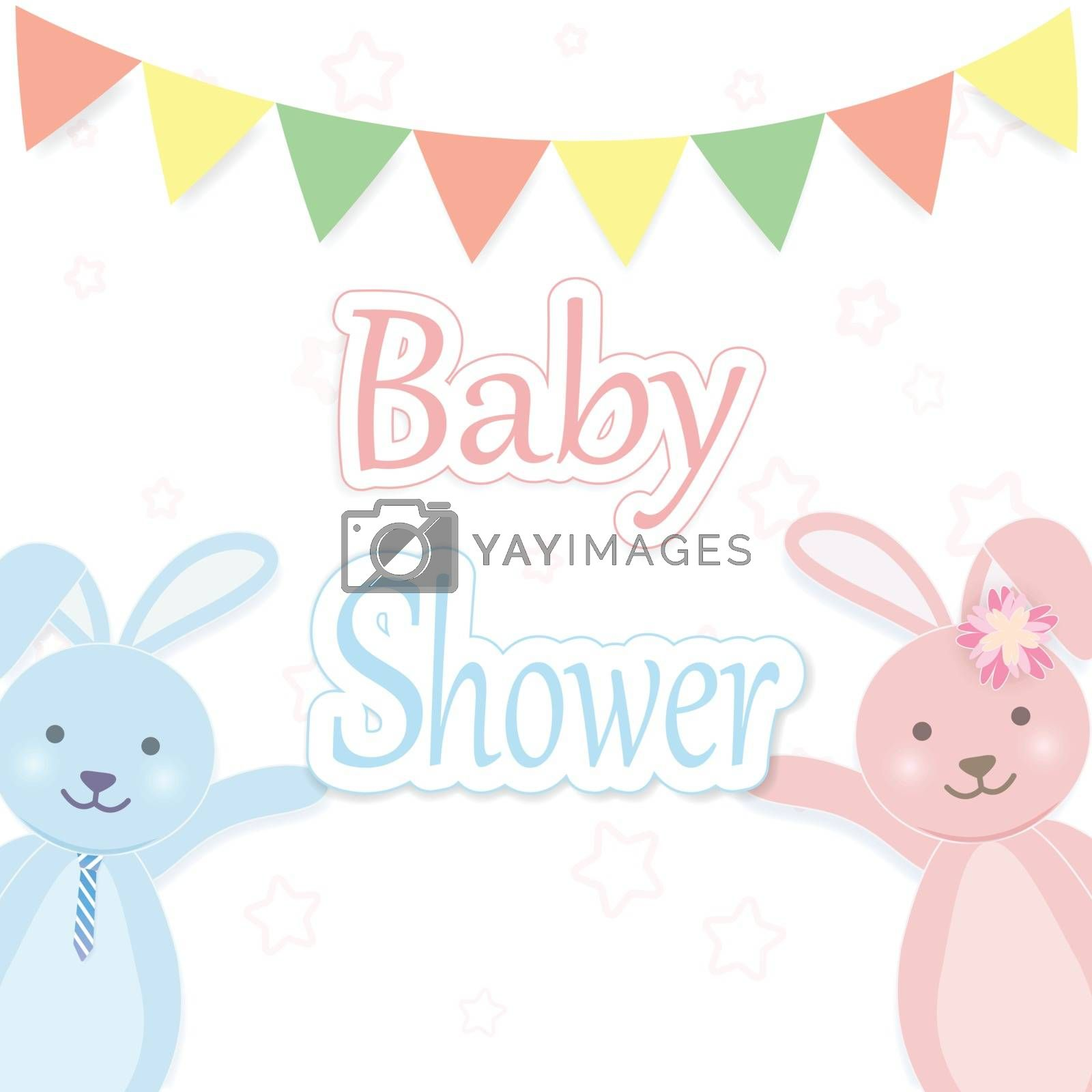 Baby shower card with Rabbit couple. Happy Birthday card paper art style illustration