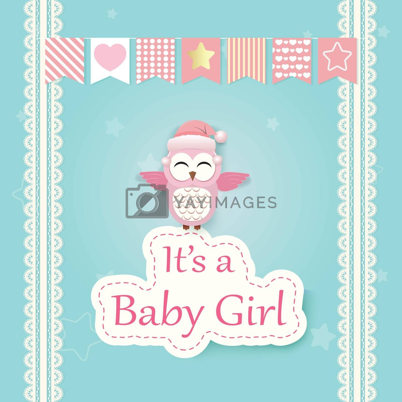 Baby girl shower card with Pink Owl on green. Happy Birthday card paper art style illustration