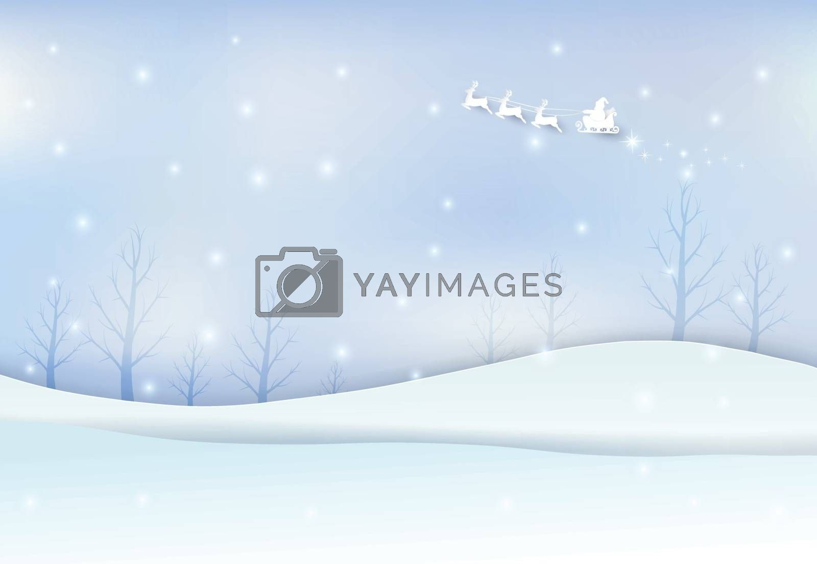 Winter holiday santa with snow on blue sky background. Christmas season paper art style illustration.