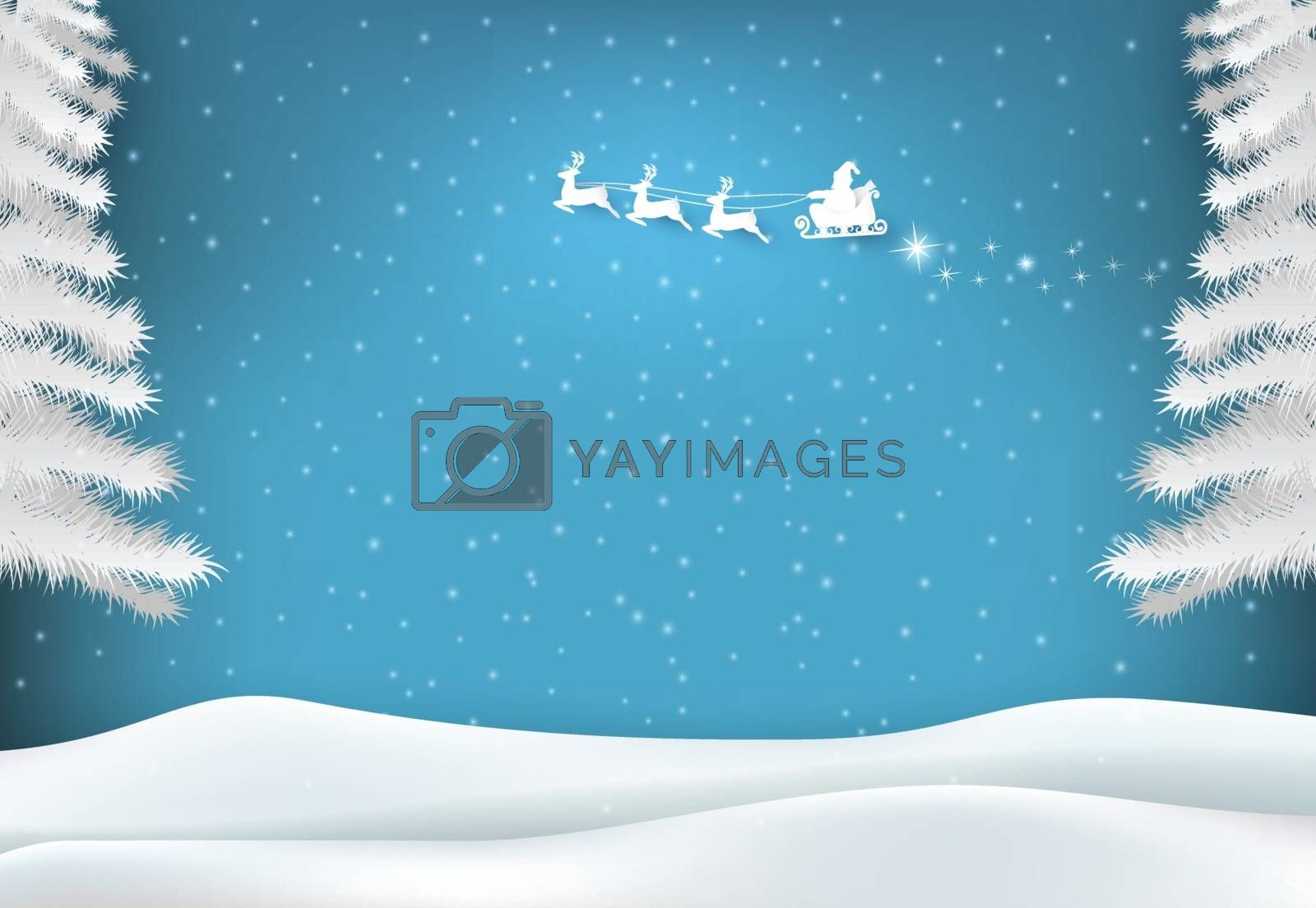 Winter holiday santa with snowy on blue sky background. Christmas season paper art style illustration.
