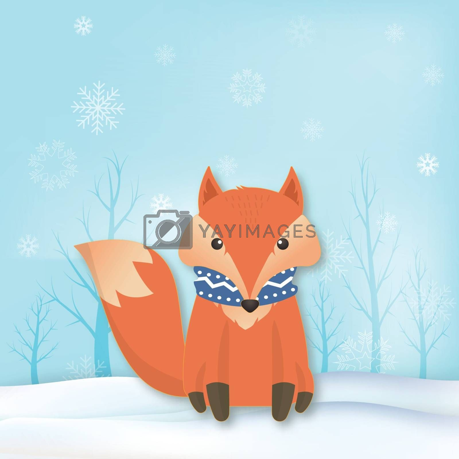 Paper art of Fox with snowflake and sky background  Christmas season winter holiday paper craft style illustration.