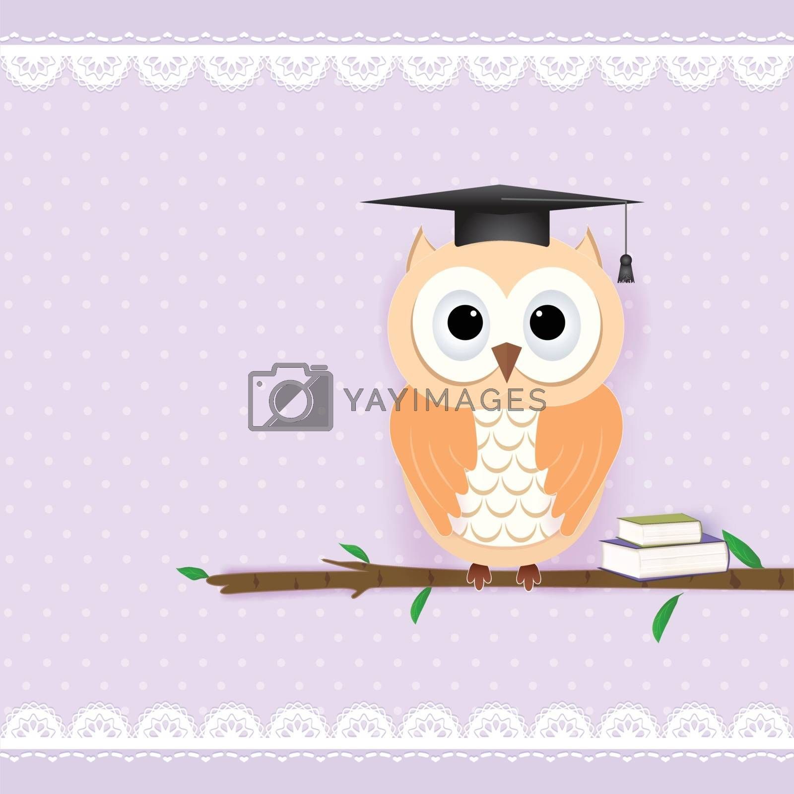 Owl on purple for Greeting card, Baby shower card with paper art style illustration