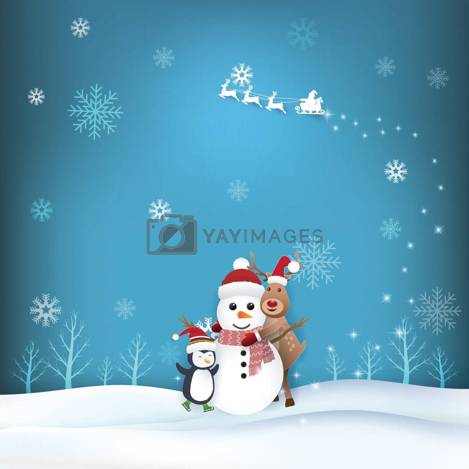 Snowman, Deer and penguin in winter season paper art, paper craft style illustration