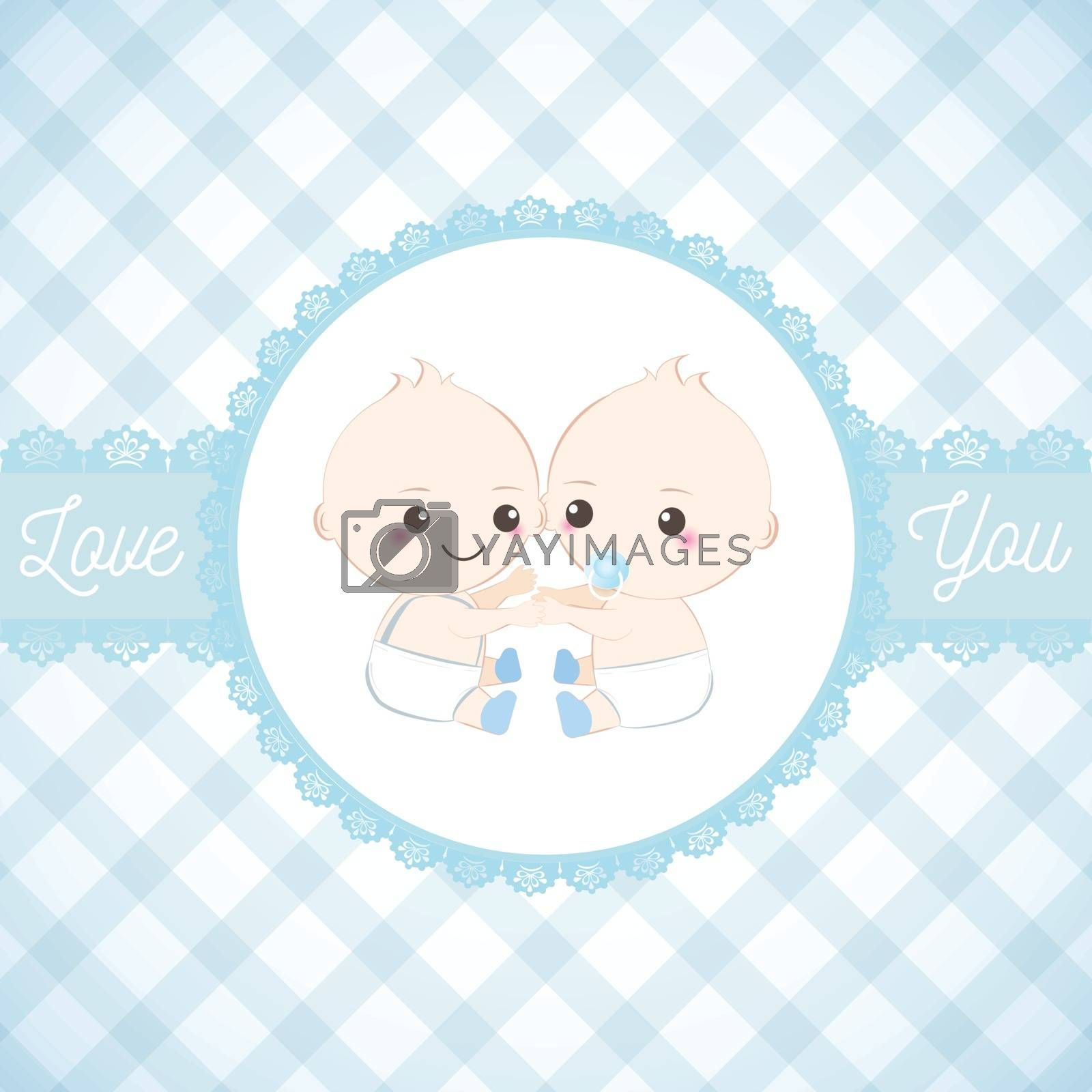 Twin babies boy and lace frame, Baby shower card. Greeting card illustration