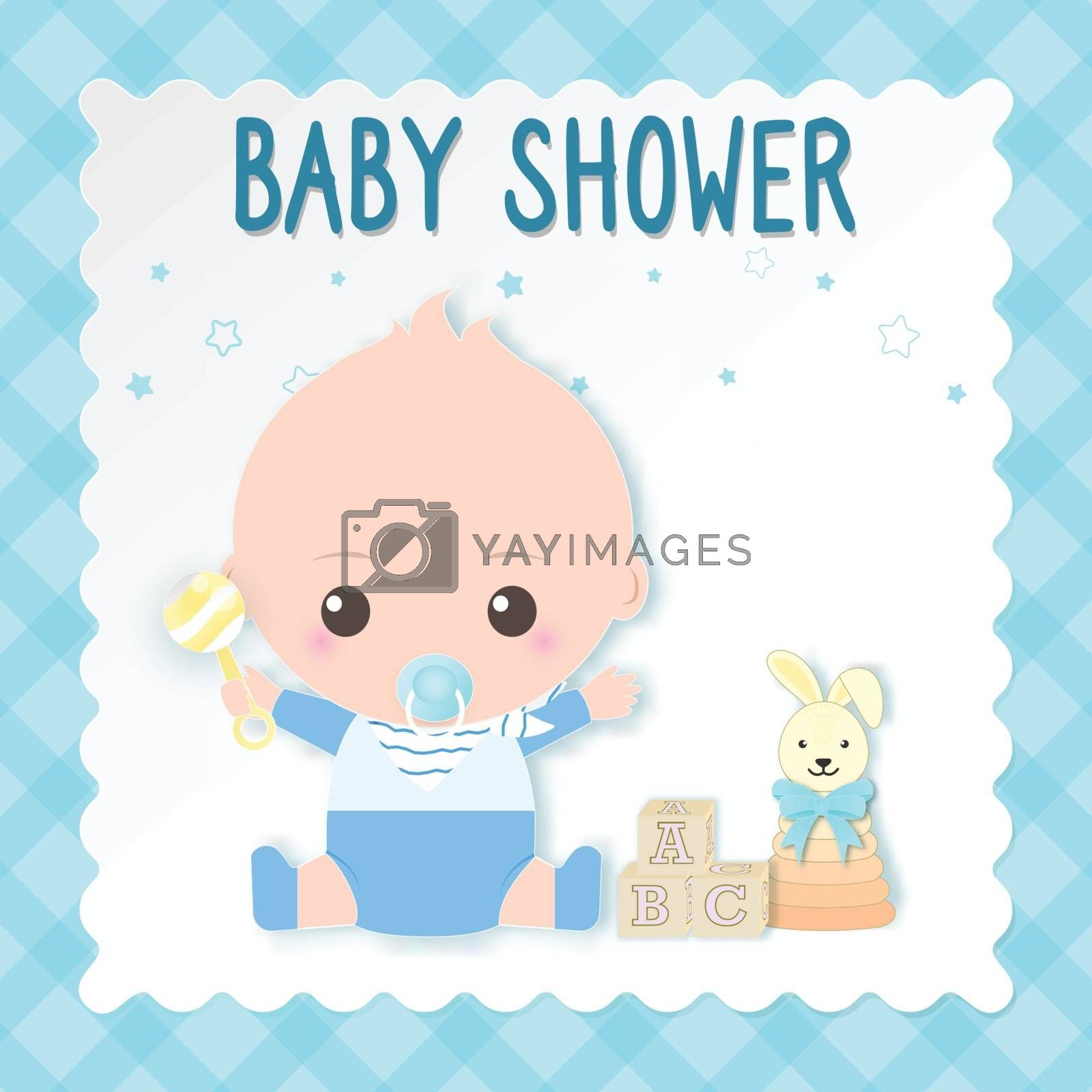 Baby shower card, baby boy and toy. Greeting card paper art style illustration