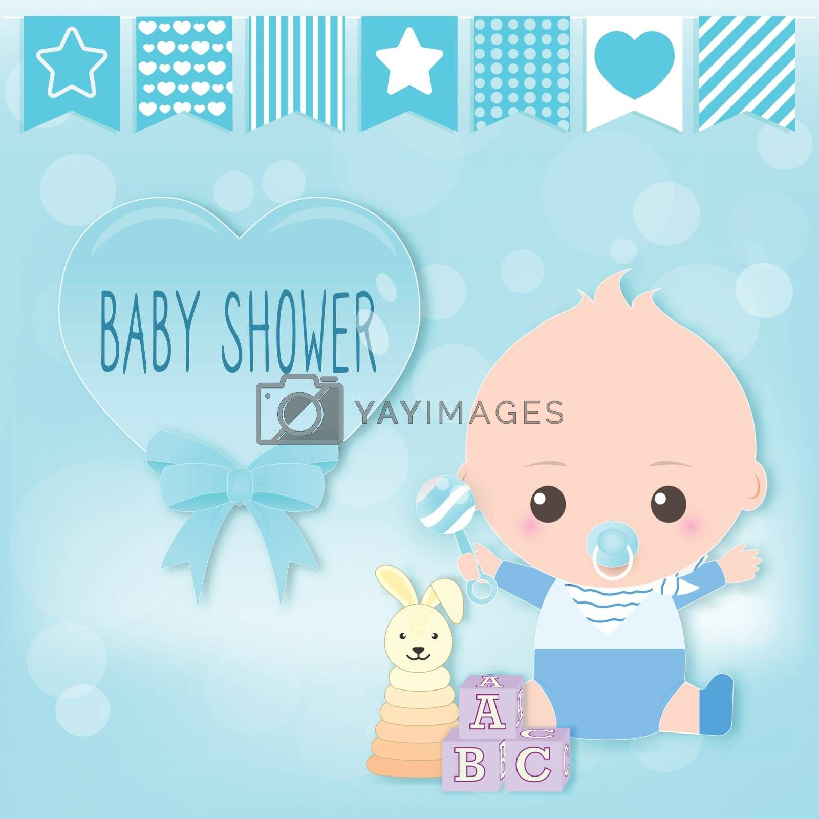Baby boy shower card, baby boy and toy. Greeting card paper art style illustration