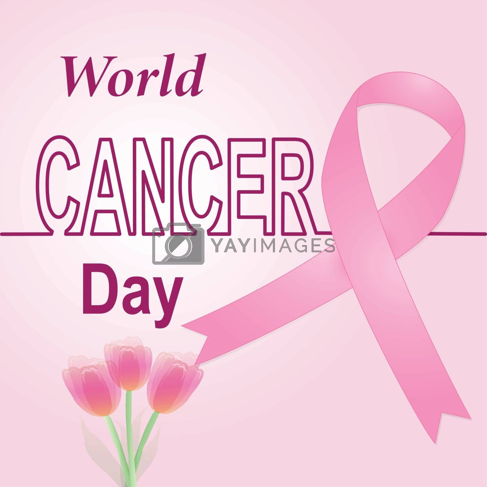Pink ribbon for breast cancer awareness sign for background illustration