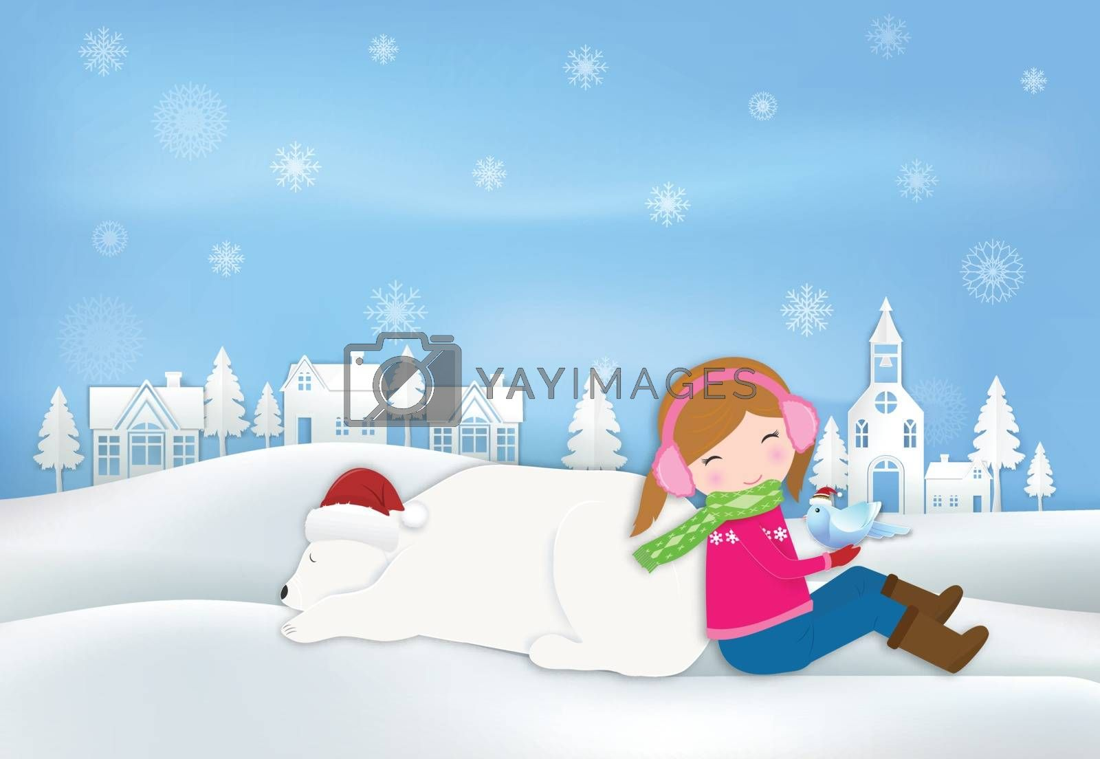 Paper art of Girl, Polar bear and bird at village in countryside illustration, Christmas season winter holiday paper craft background.