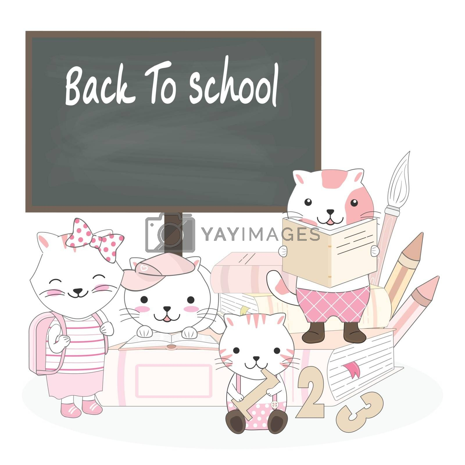 Cute cat animal cartoon back to school set illustration