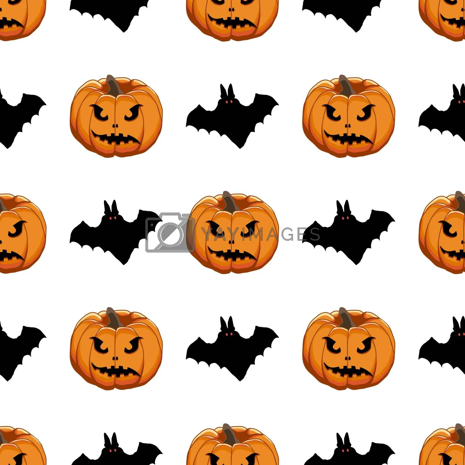 Illustration on theme big colored pattern Halloween, seamless orange pumpkin. Seamless pattern consisting of collection pumpkin, accessory at Halloween. Rare pattern Halloween from seamless pumpkin.