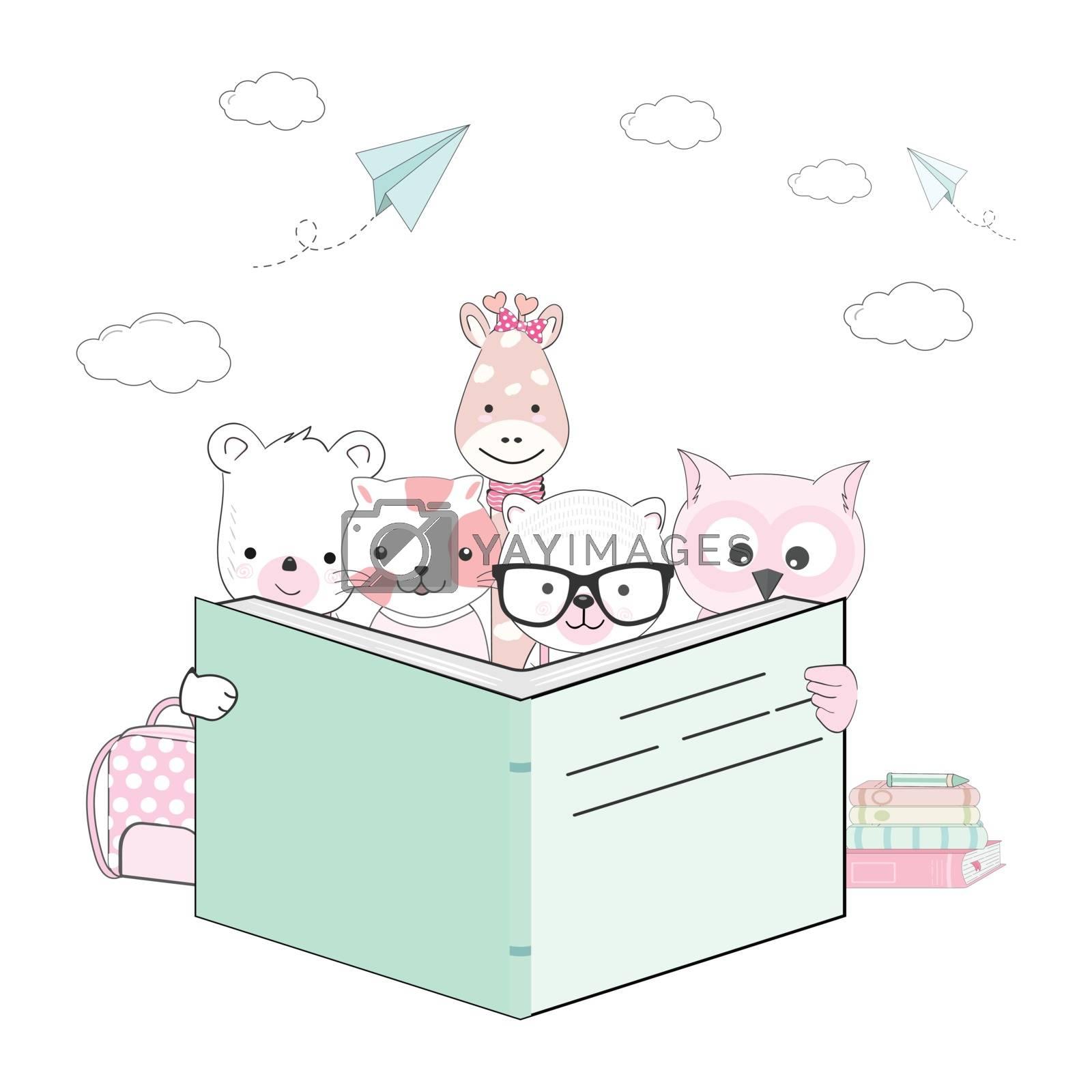 Cute kid animals cartoon reading a book, back to school illustration