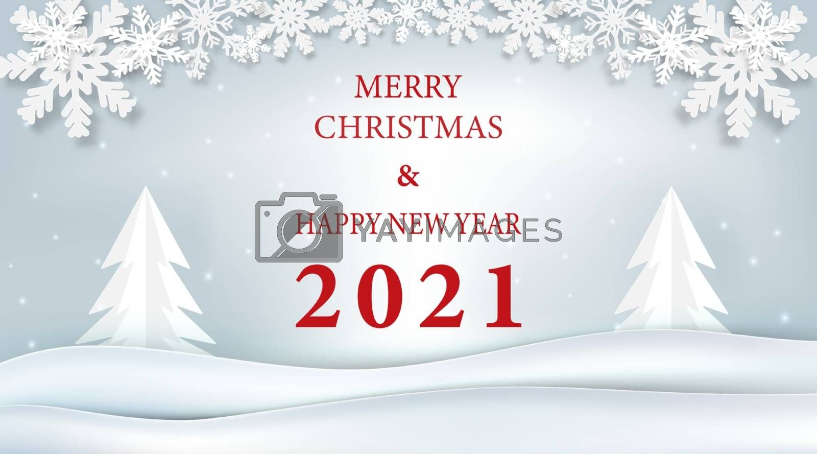 Christmas and New year 2021 season and snowflake paper art, paper craft style winter illustration